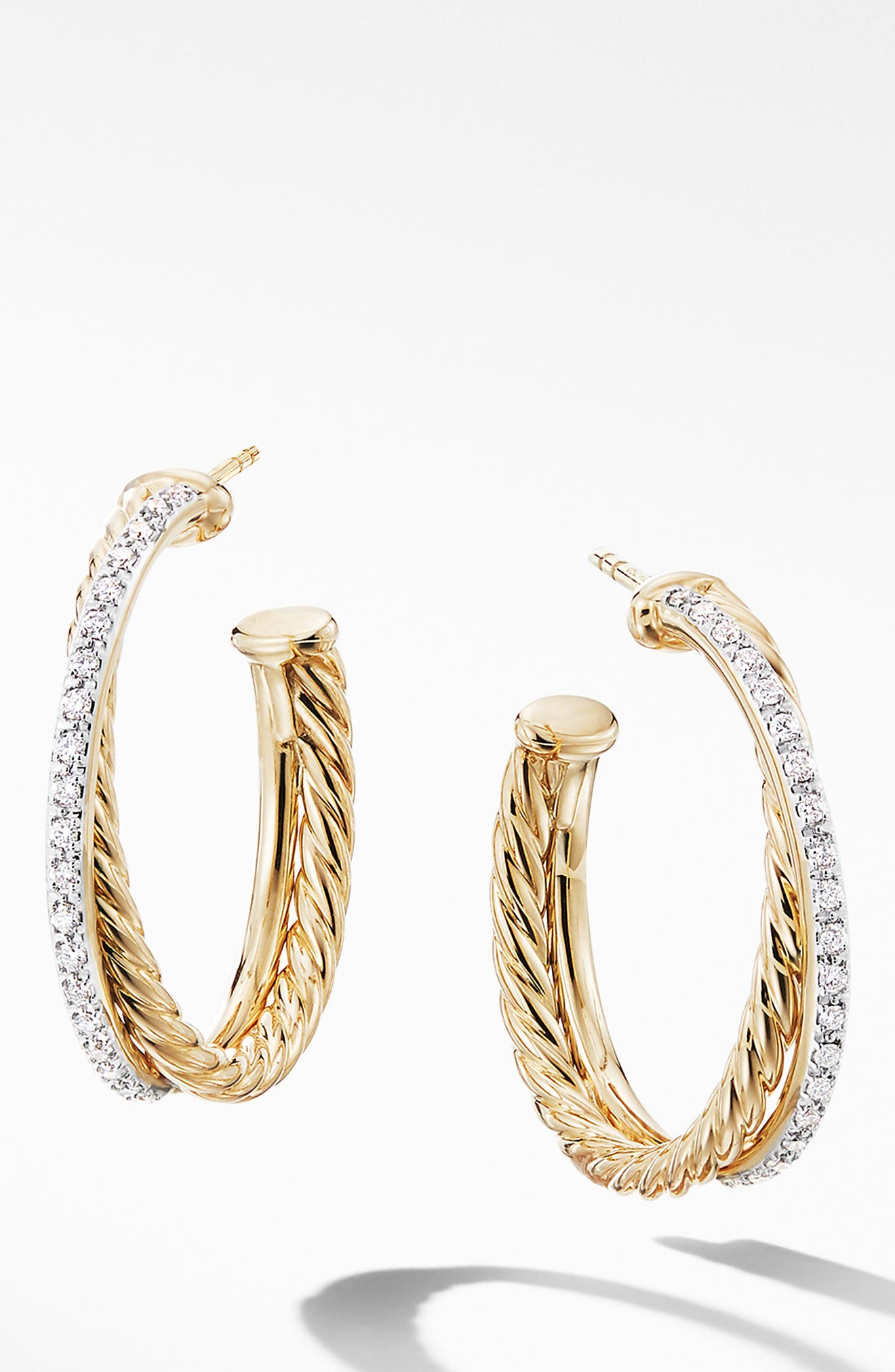 DAVID YURMAN Medium Crossover Hoop Earrings with Diamonds, Main, color, GOLD/ DIAMOND
