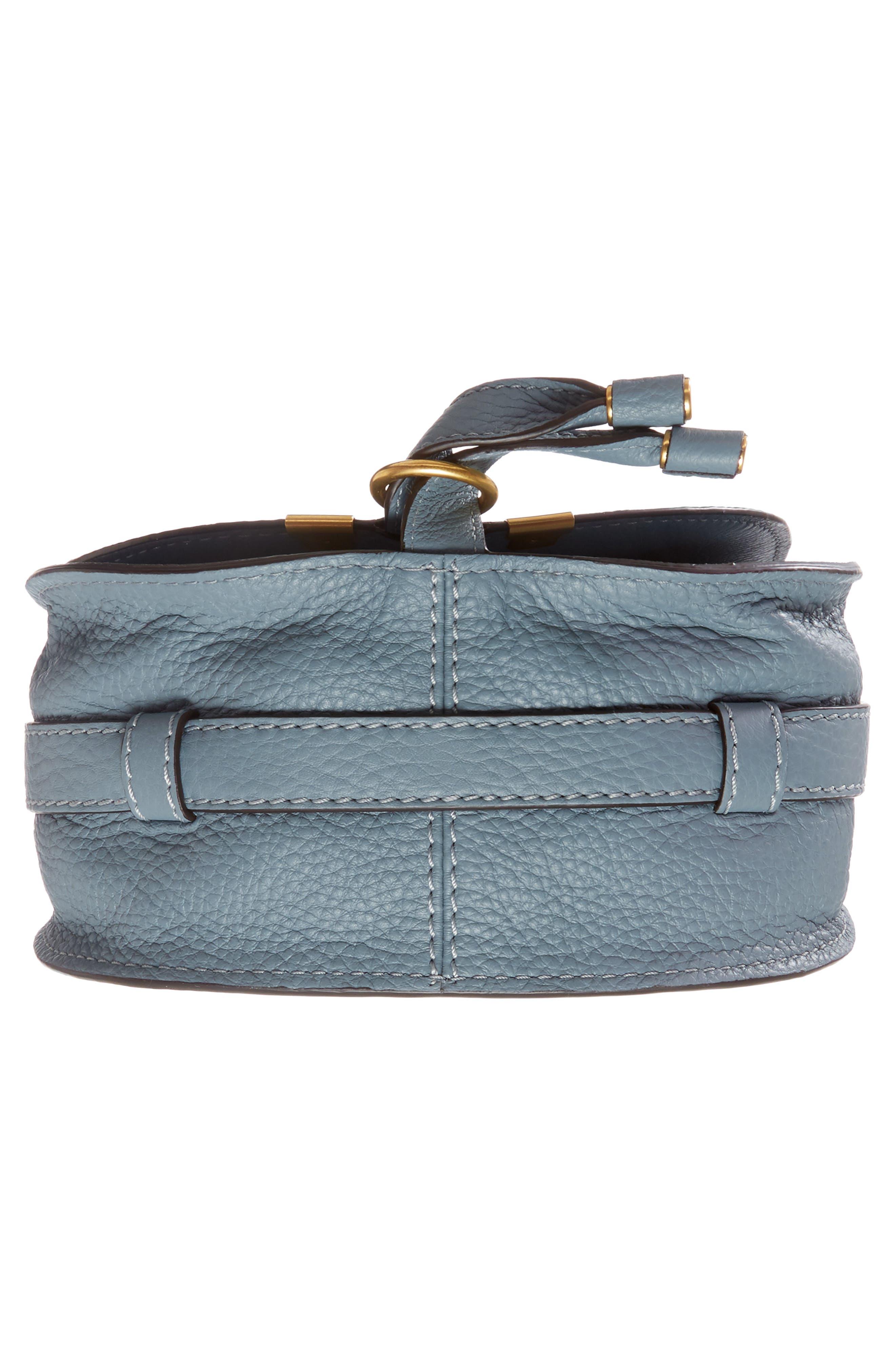 CHLOÉ, 'Mini Marcie' Leather Crossbody Bag, Alternate thumbnail 6, color, BFC CLOUDY BLUE