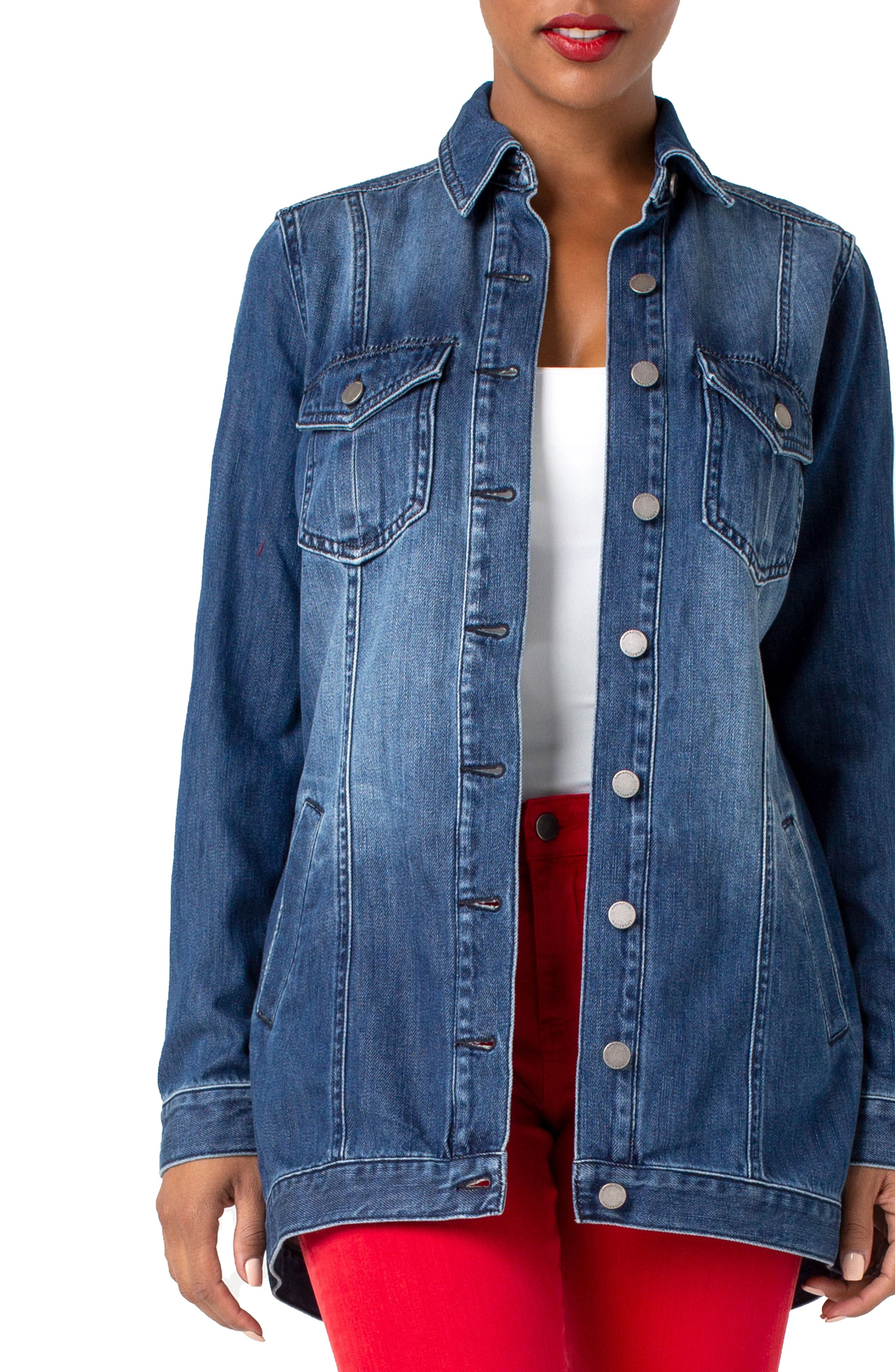 LIVERPOOL, High/Low Denim Jacket, Main thumbnail 1, color, BECKETT