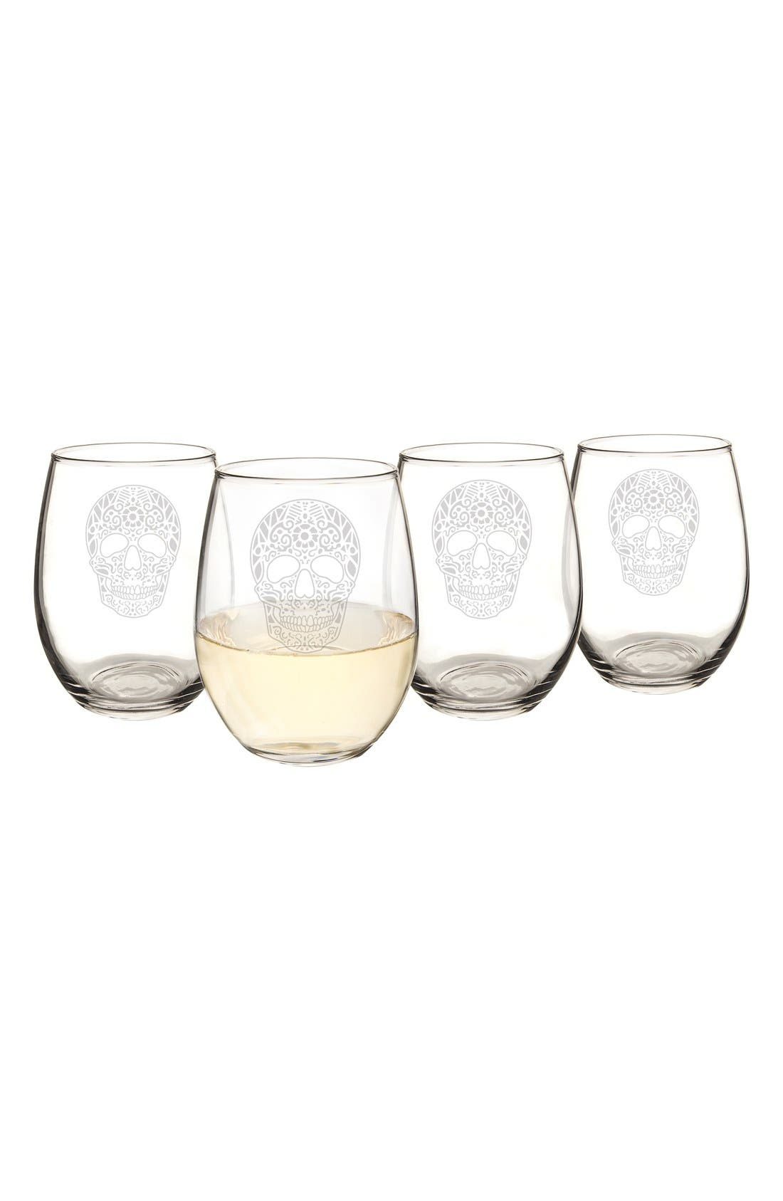 CATHY'S CONCEPTS, Sugar Skulls Set of 4 Stemless Wine Glasses, Alternate thumbnail 2, color, 100