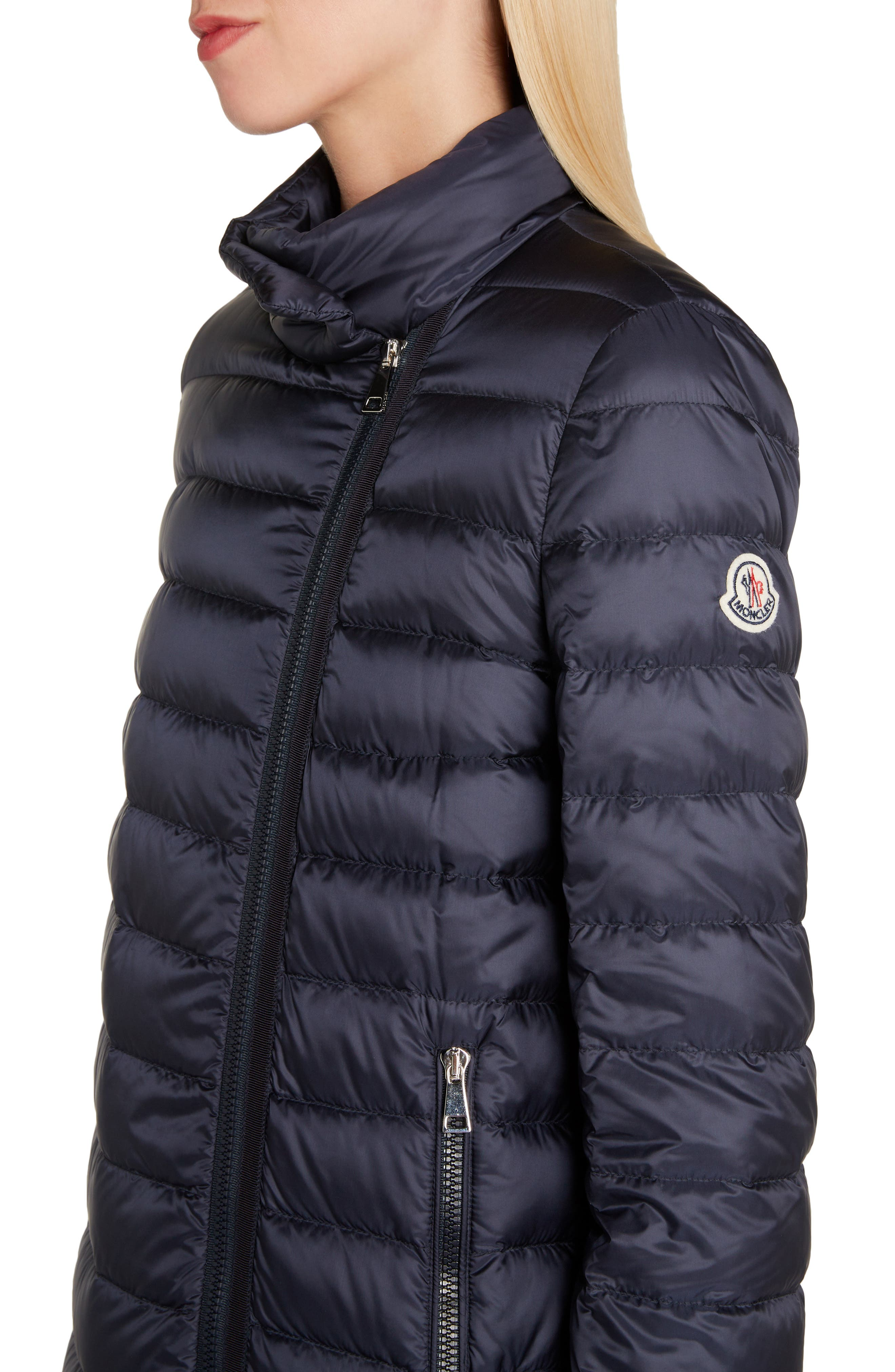 MONCLER, Quilted Down Coat, Alternate thumbnail 5, color, NAVY