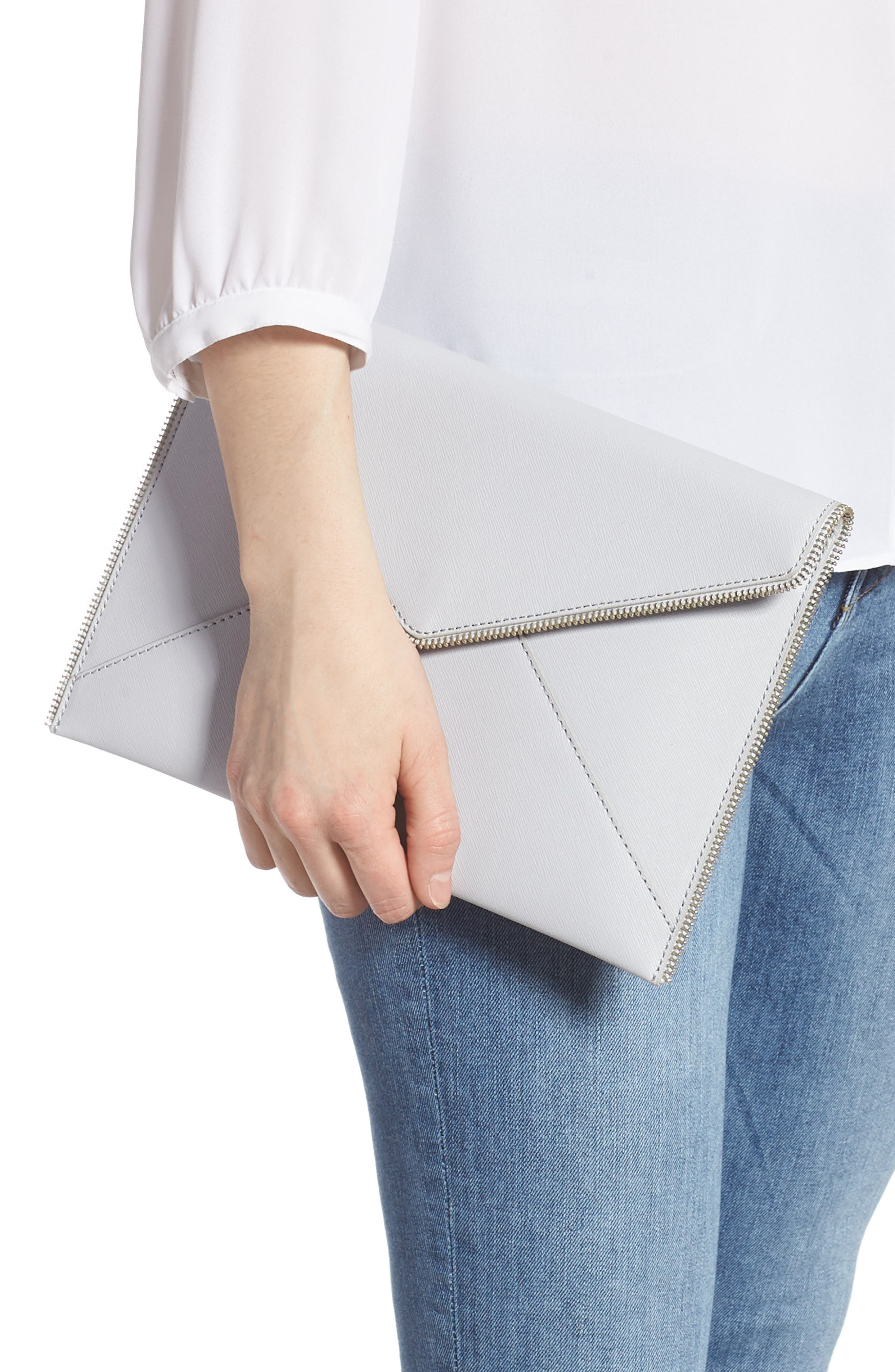 REBECCA MINKOFF, Leo Envelope Clutch, Alternate thumbnail 2, color, ICE GREY