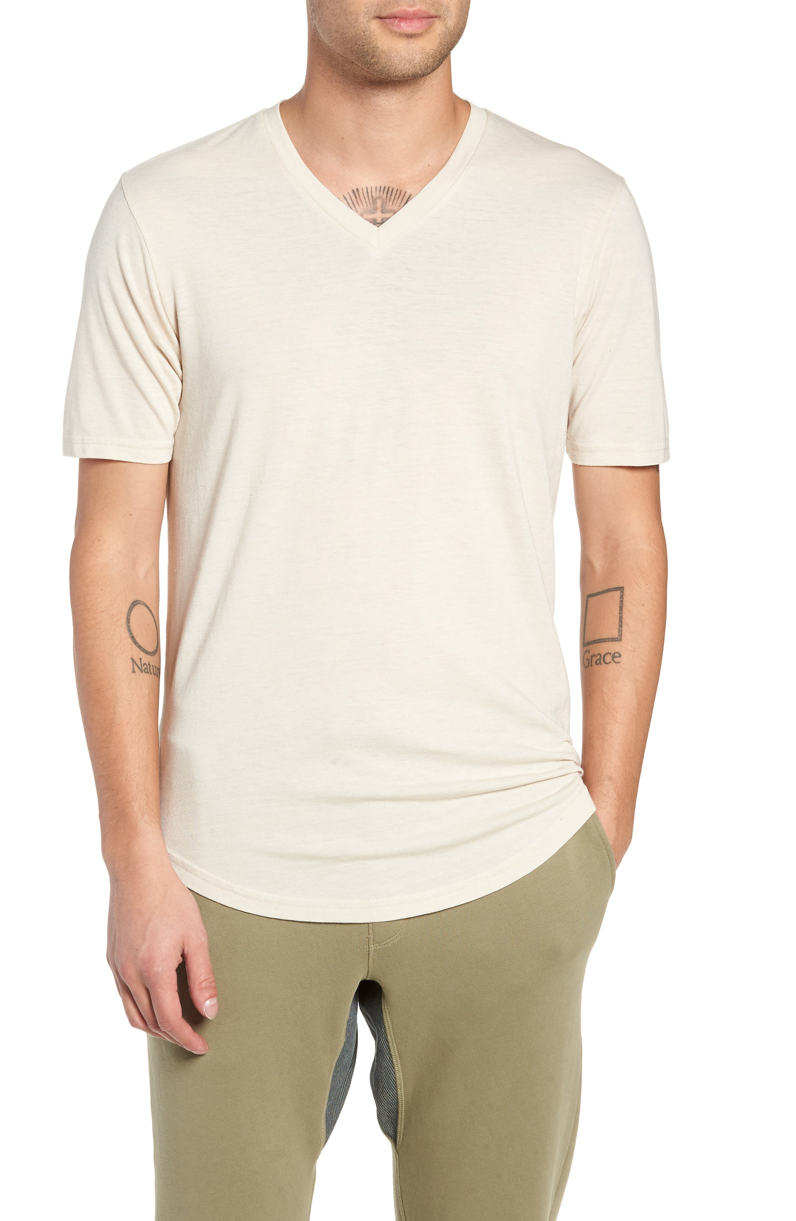 GOODLIFE Scallop Triblend V-Neck T-Shirt, Main, color, OYSTER