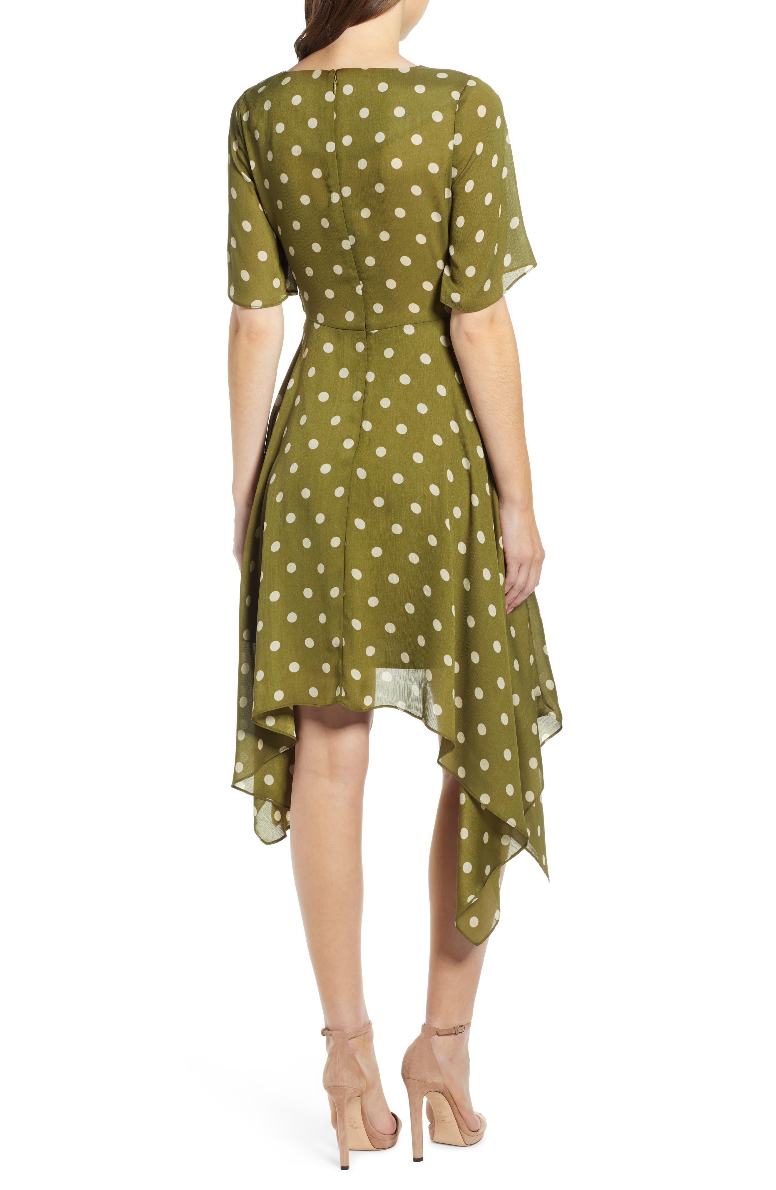 CHRISELLE LIM COLLECTION, Chriselle Lim Marie Handkerchief Hem Midi Dress, Alternate thumbnail 2, color, CREAM/ OLIVE