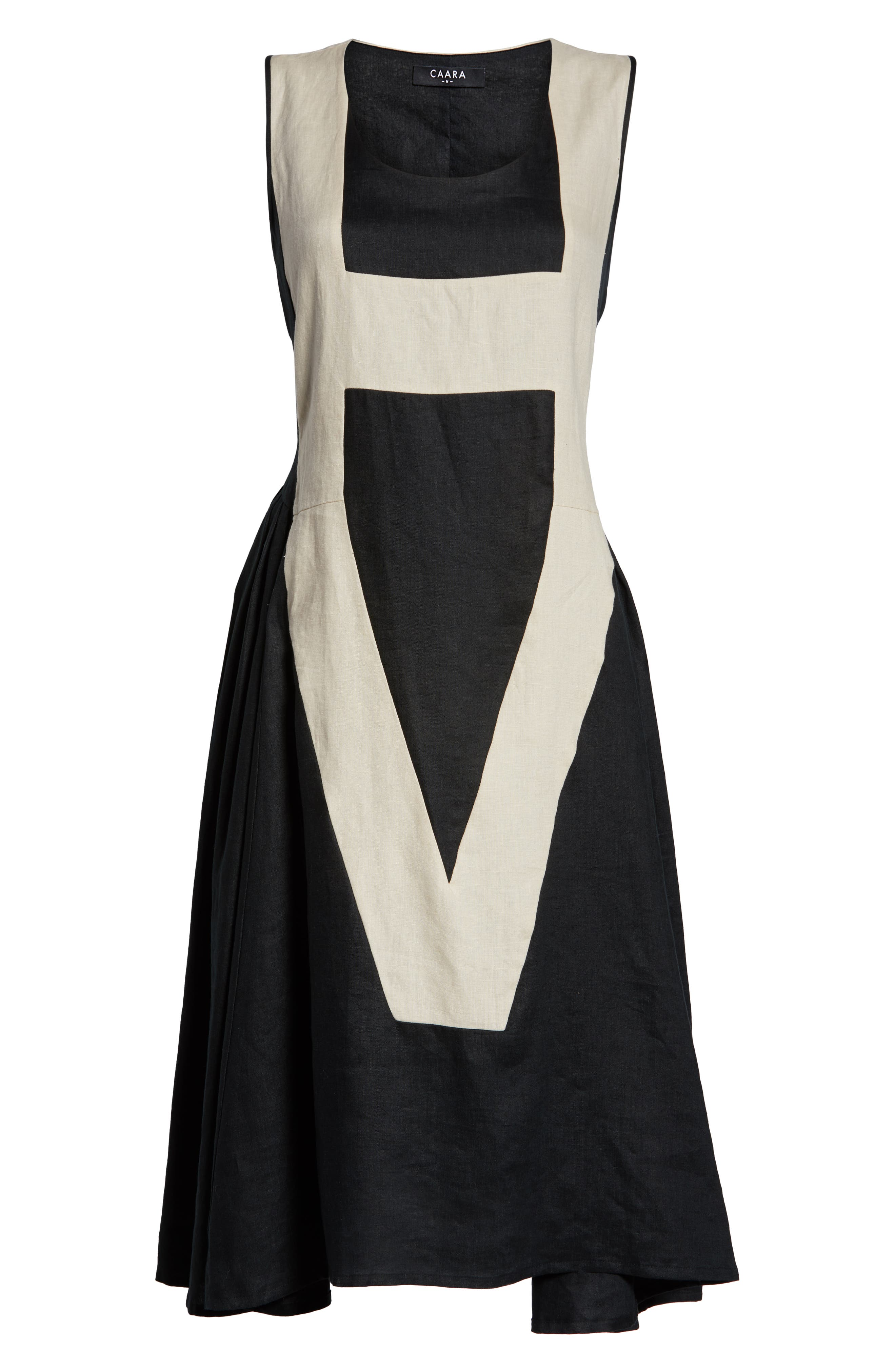 CAARA, Betha Colorblock Tie Back Dress, Alternate thumbnail 7, color, 001