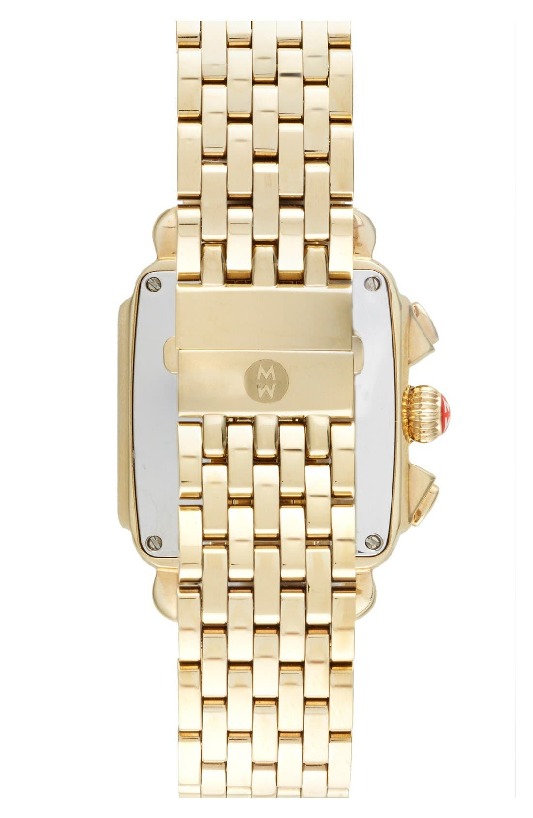 MICHELE, Deco Diamond Diamond Dial Gold Plated Watch Case, 33mm x 35mm, Alternate thumbnail 6, color, GOLD