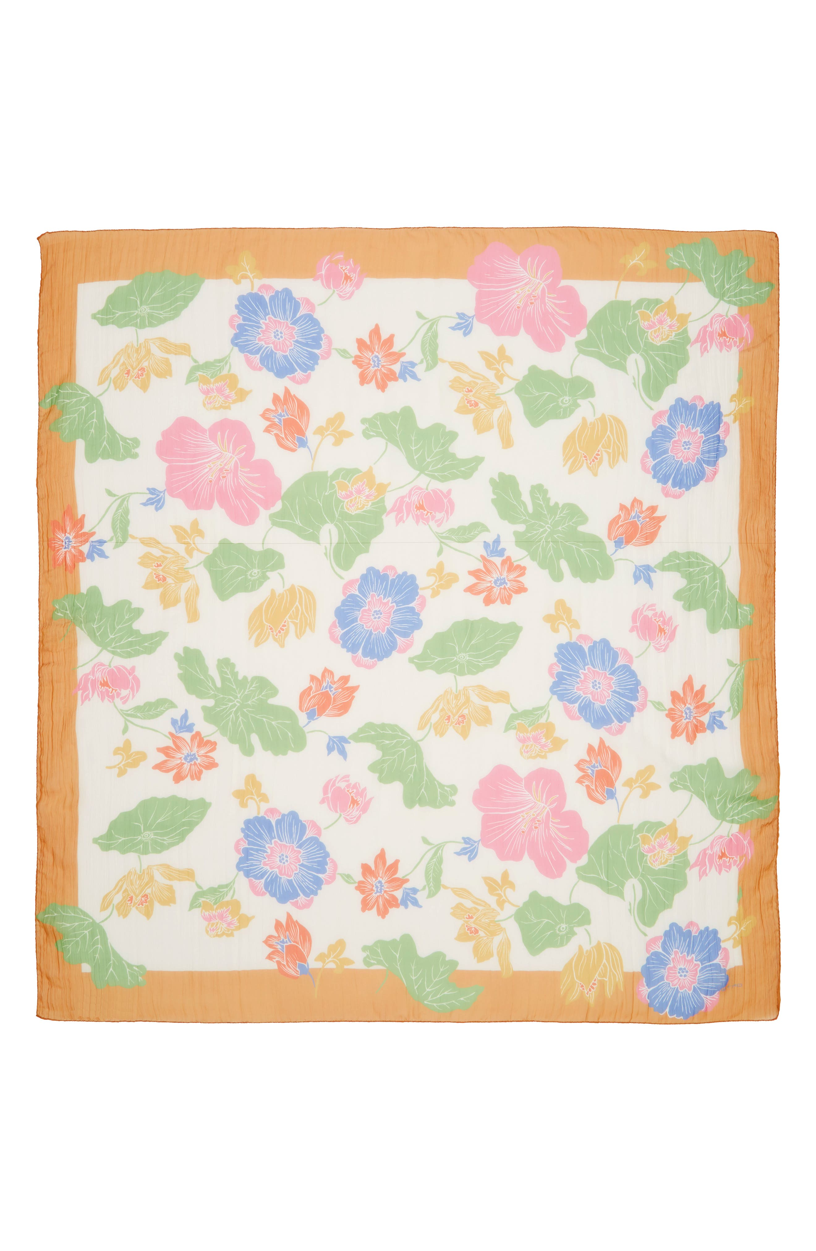 ETRO, Bombay Lily Print Square Silk Scarf, Alternate thumbnail 3, color, WHITE MULTI