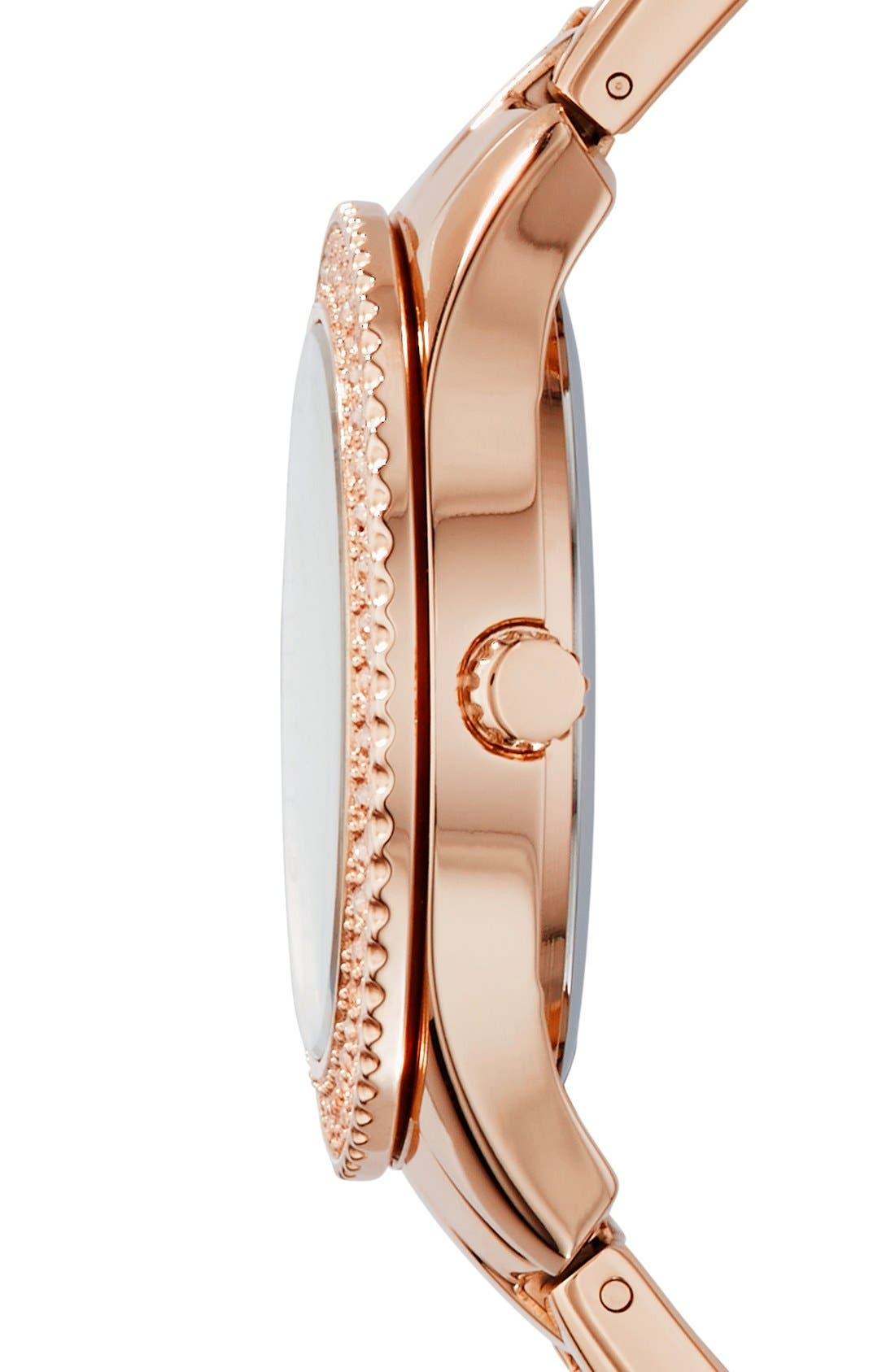 FOSSIL, 'Stella' Crystal Bezel Multifunction Bracelet Watch, 38mm, Alternate thumbnail 3, color, ROSE GOLD