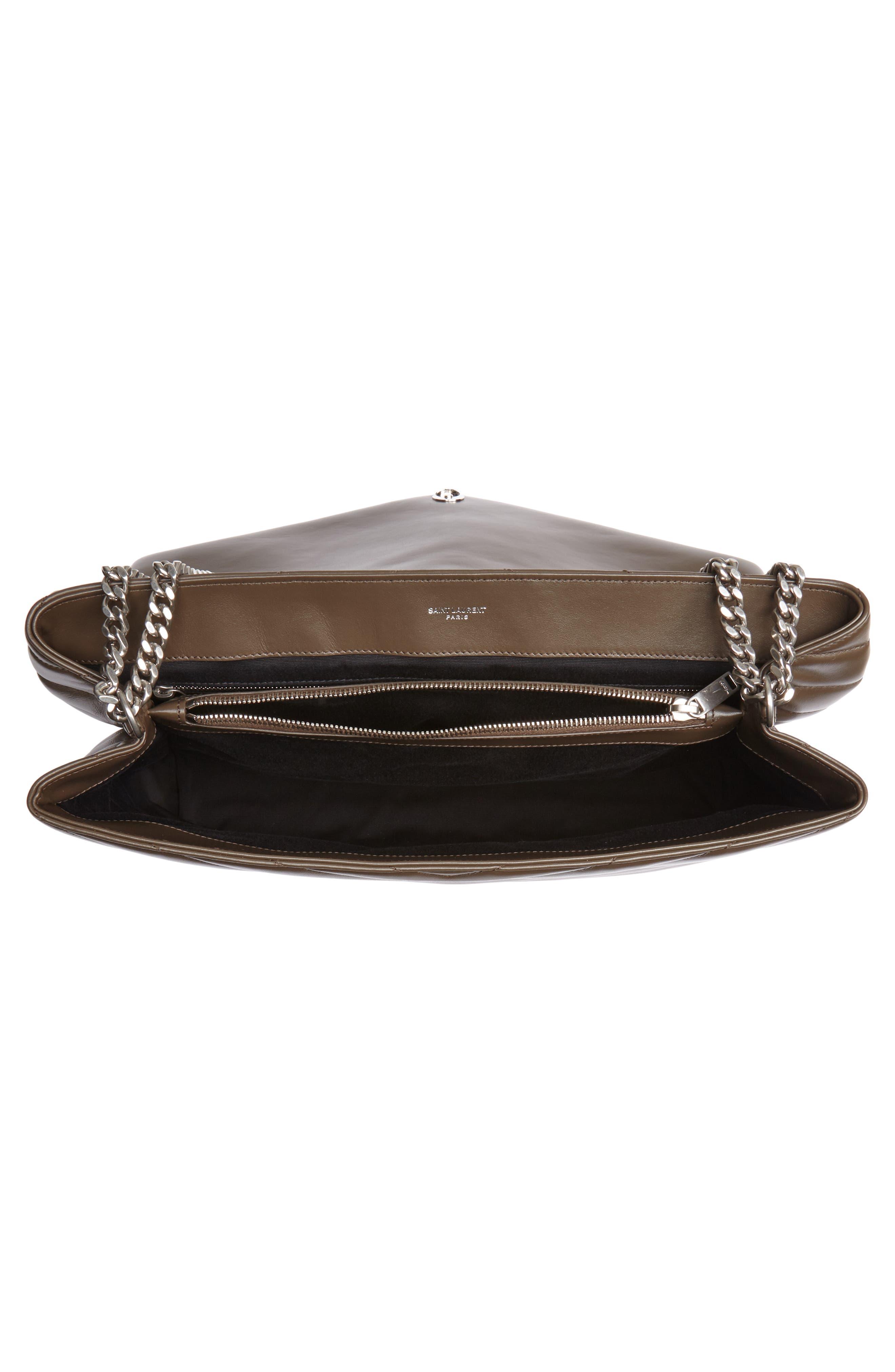 SAINT LAURENT, Large Loulou Matelassé Leather Shoulder Bag, Alternate thumbnail 4, color, FAGGIO/ FAGGIO