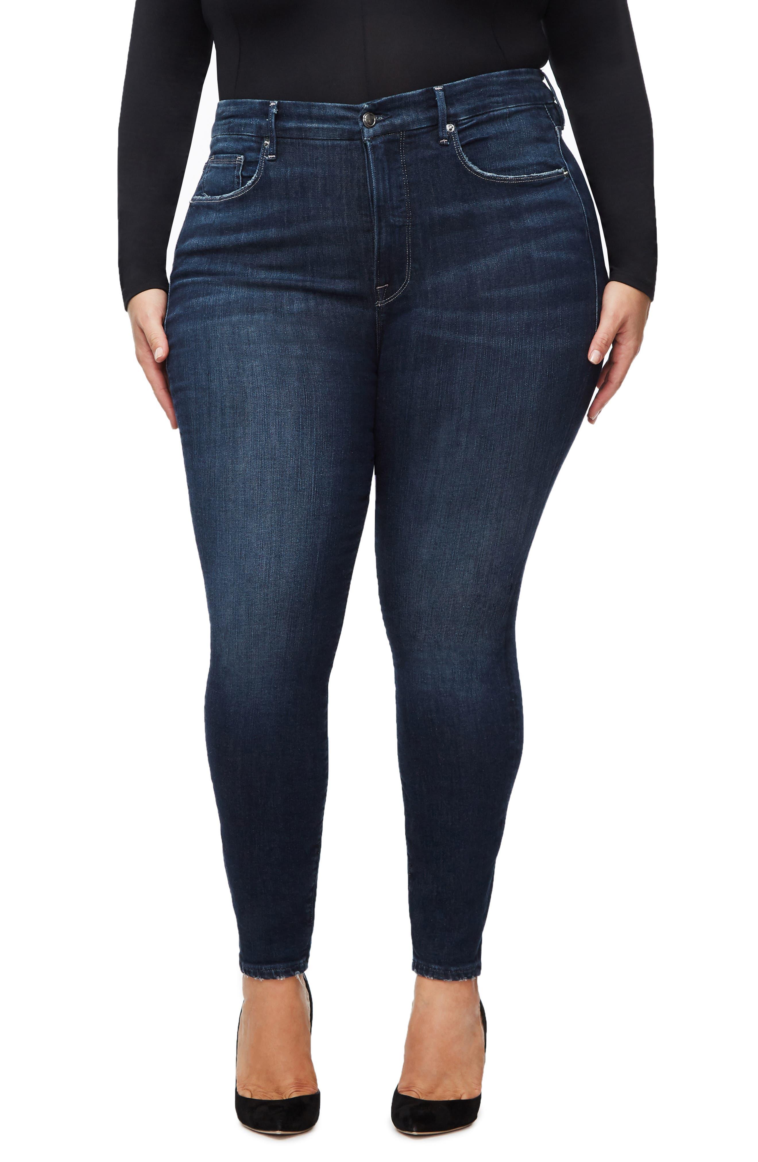 GOOD AMERICAN, Good Legs Ankle Skinny Jeans, Alternate thumbnail 2, color, BLUE260