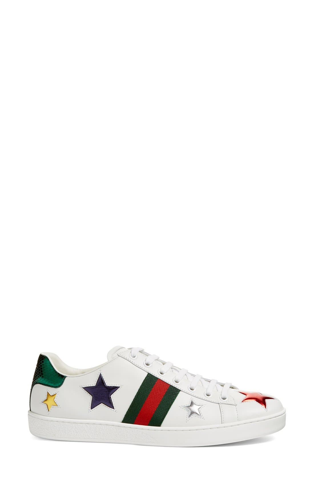 GUCCI, New Ace Star Sneaker, Alternate thumbnail 6, color, WHITE MULTI