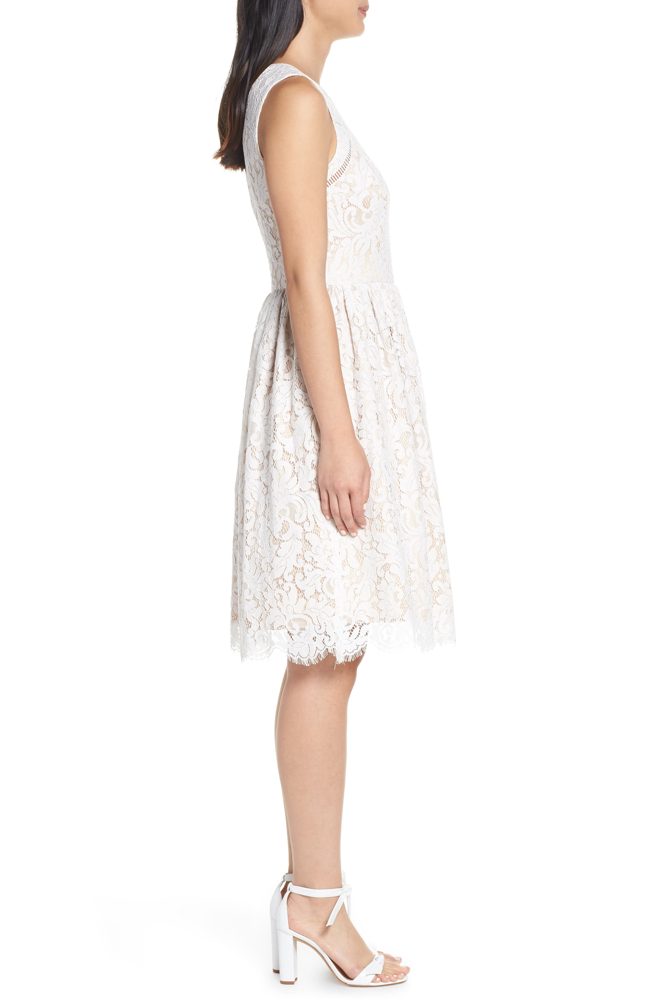 ELIZA J, Lace Fit & Flare Dress, Alternate thumbnail 4, color, IVORY