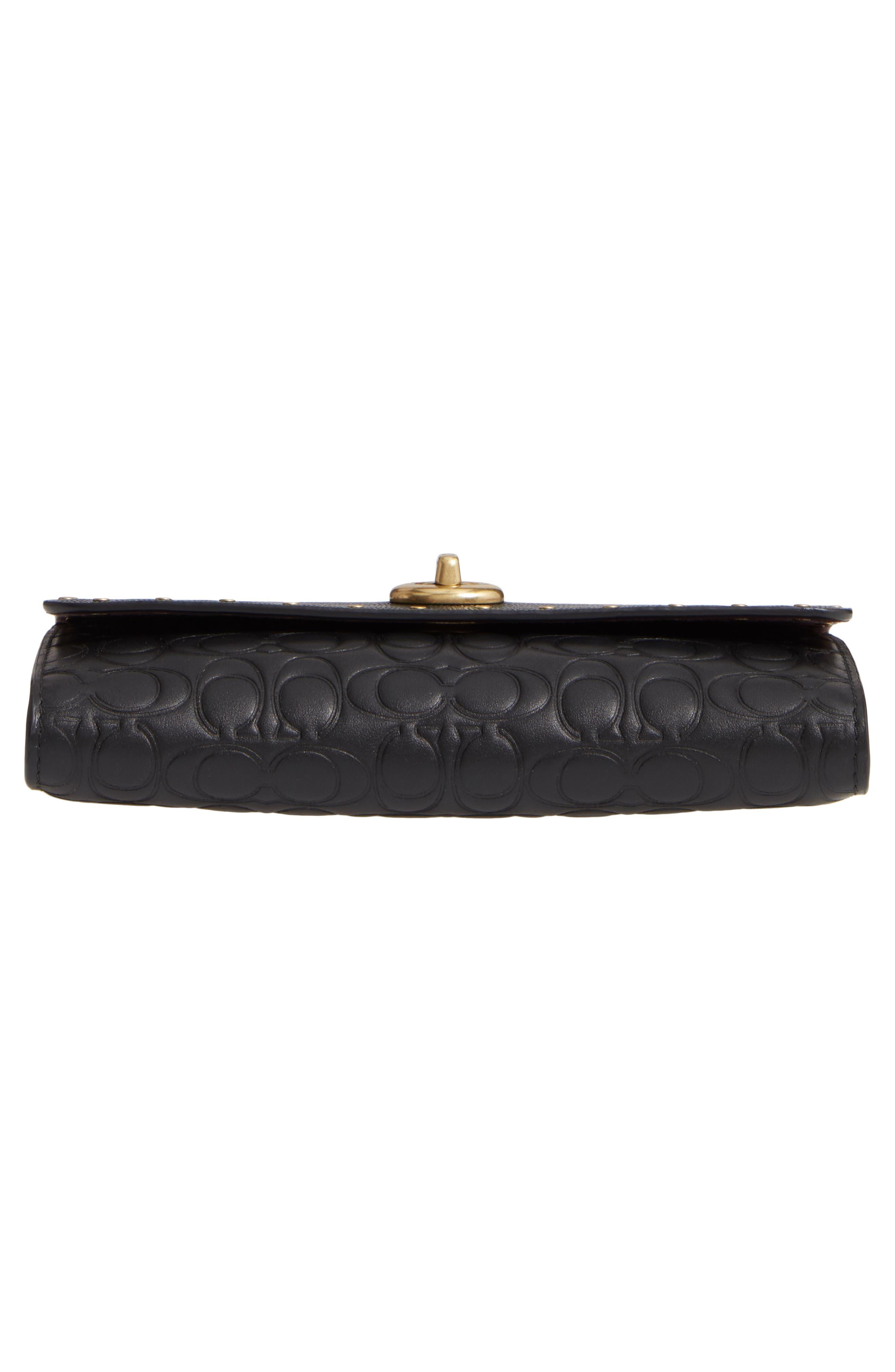COACH, Marlow Rivets Leather Crossbody Bag, Alternate thumbnail 7, color, BLACK