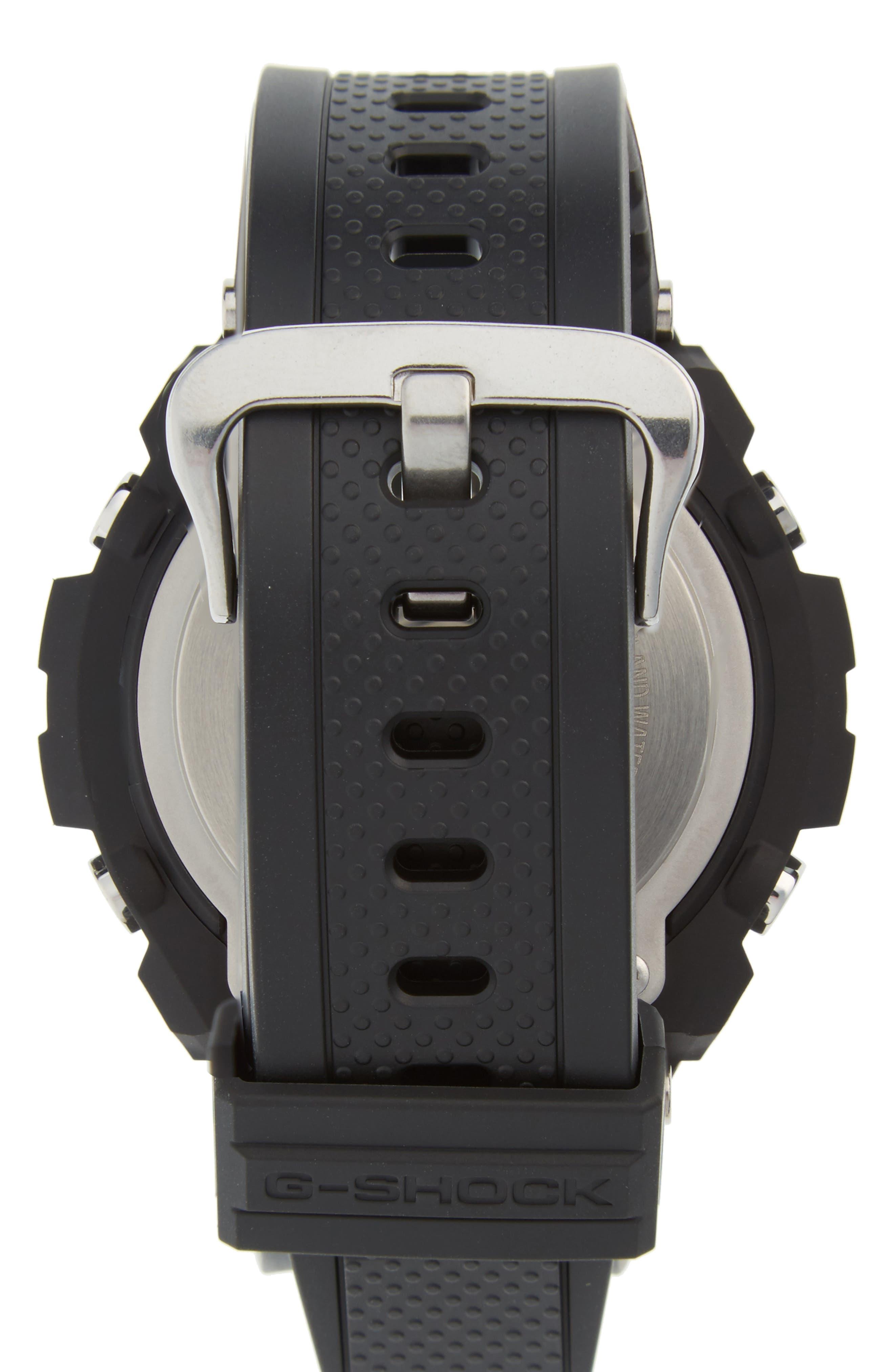 G-SHOCK BABY-G, G-Shock 'G-Steel' Ana-Digi Resin Strap Watch, 59mm x 52mm, Alternate thumbnail 2, color, BLACK