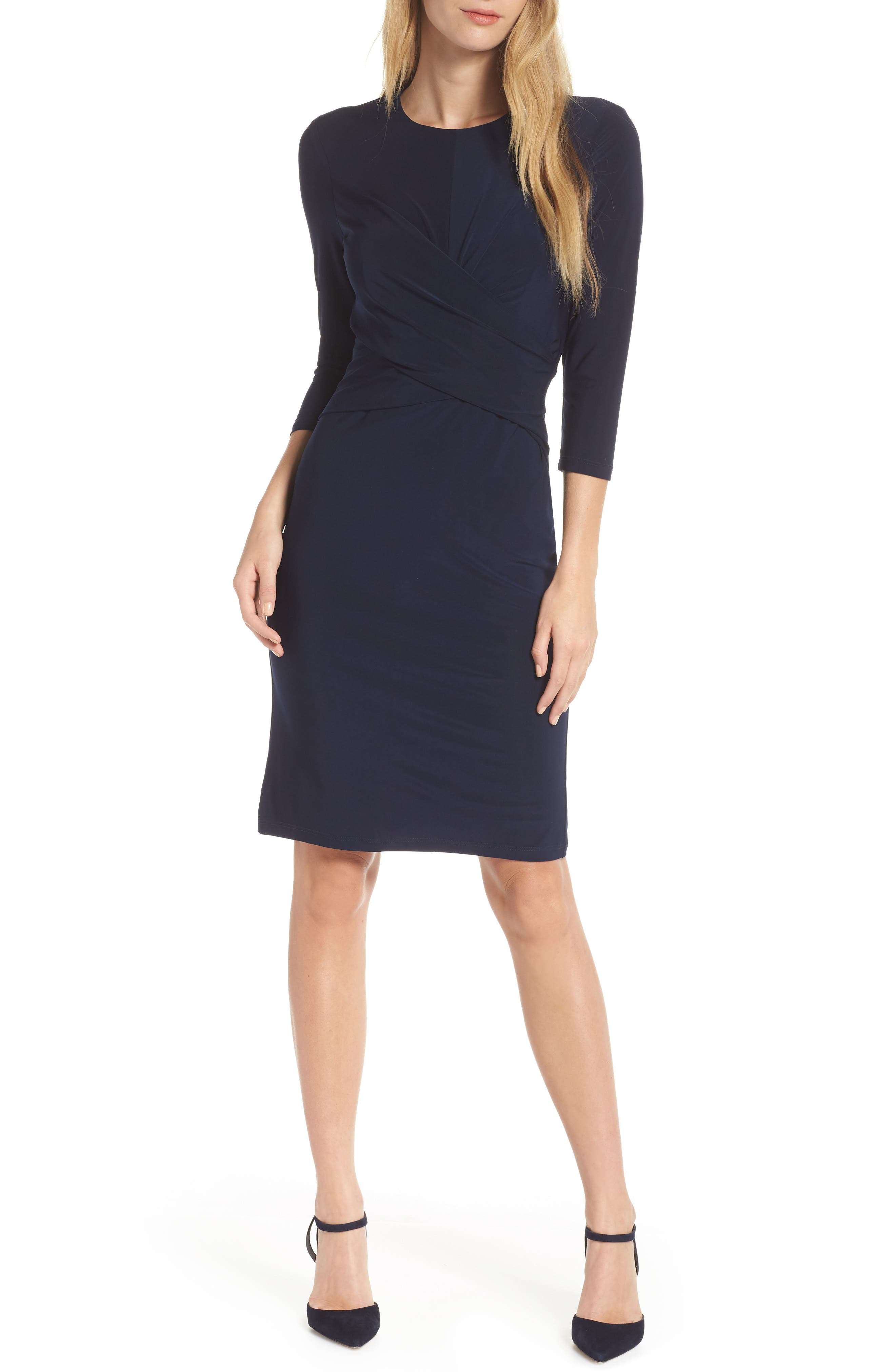ELIZA J Ruched Jersey Sheath Dress, Main, color, NAVY