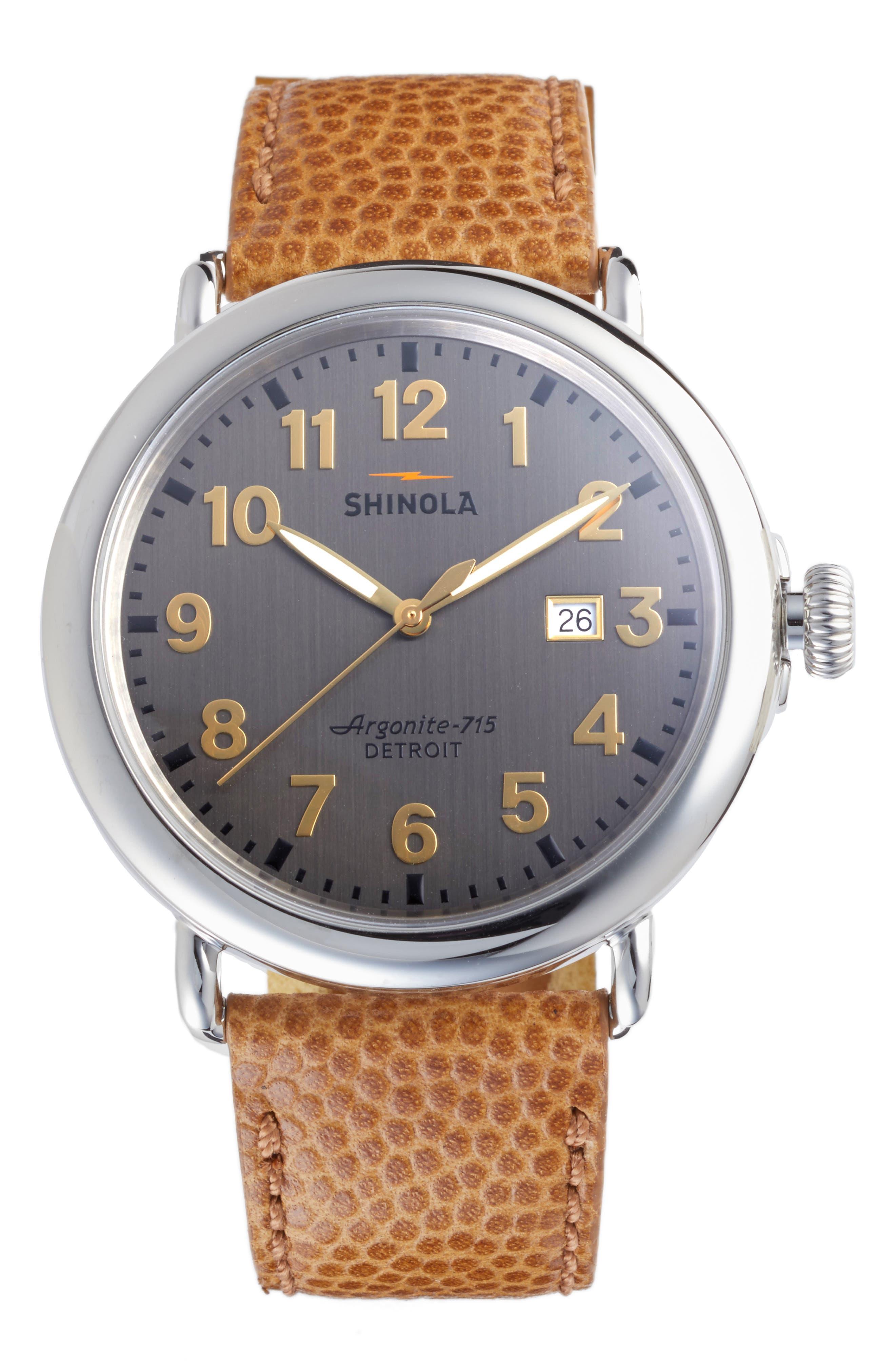 SHINOLA Runwell Leather Strap Watch, 47mm, Main, color, DARK CAMEL/ BRUSHED DARK