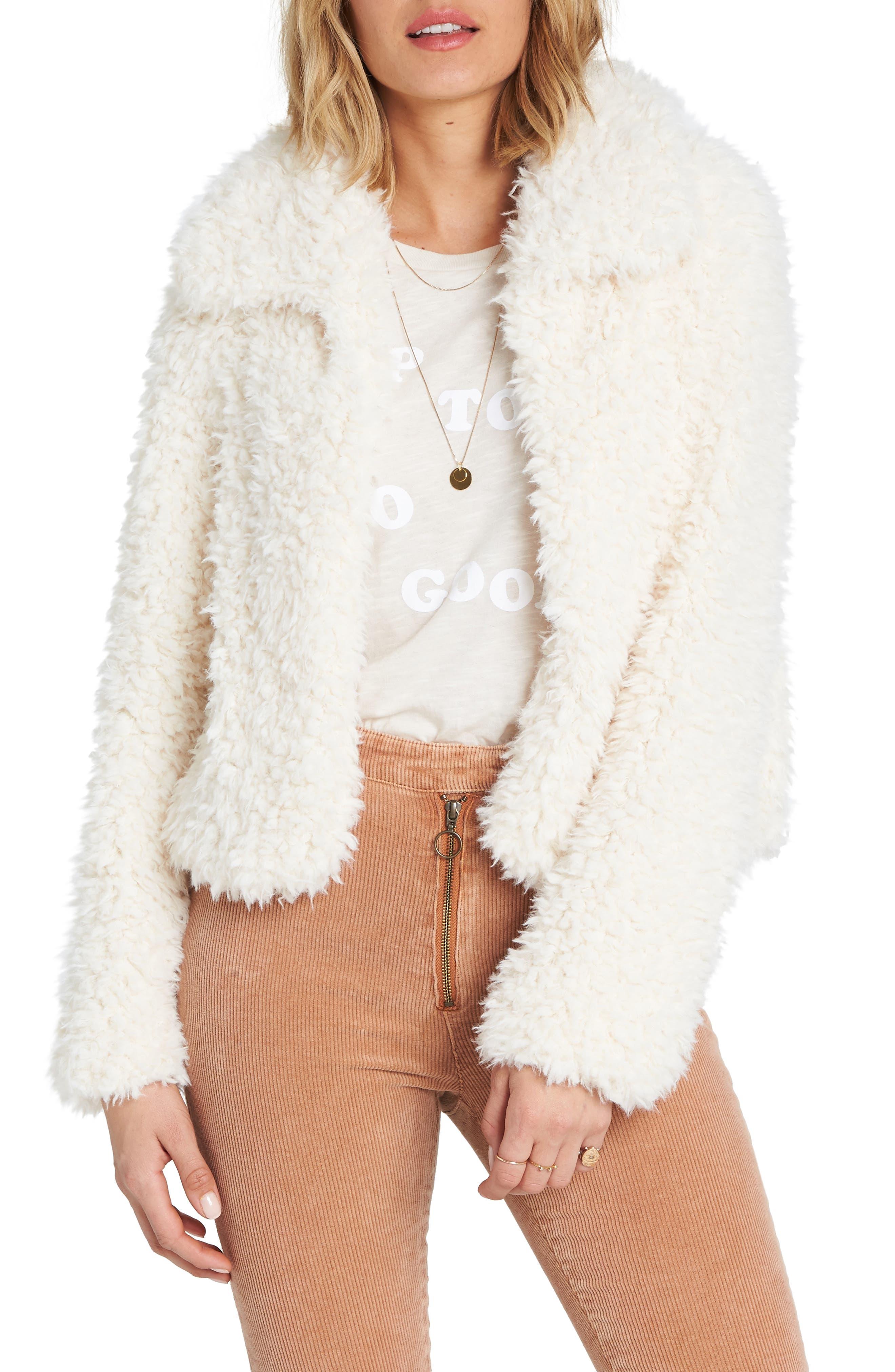 BILLABONG, Fur Keeps Faux Fur Crop Jacket, Main thumbnail 1, color, 190