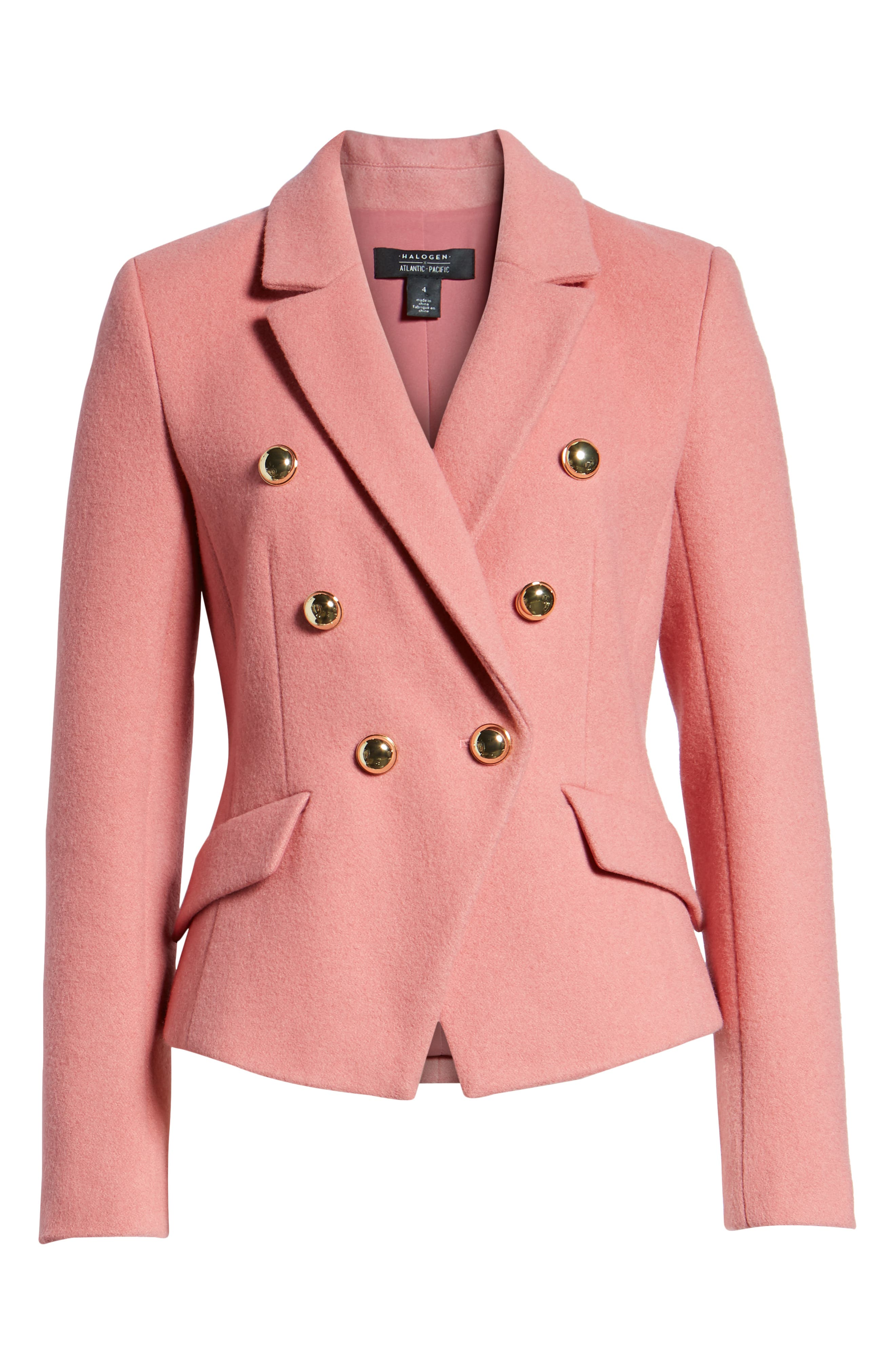 HALOGEN<SUP>®</SUP>, x Atlantic-Pacific Double Breasted Wool Blend Blazer, Alternate thumbnail 7, color, 660