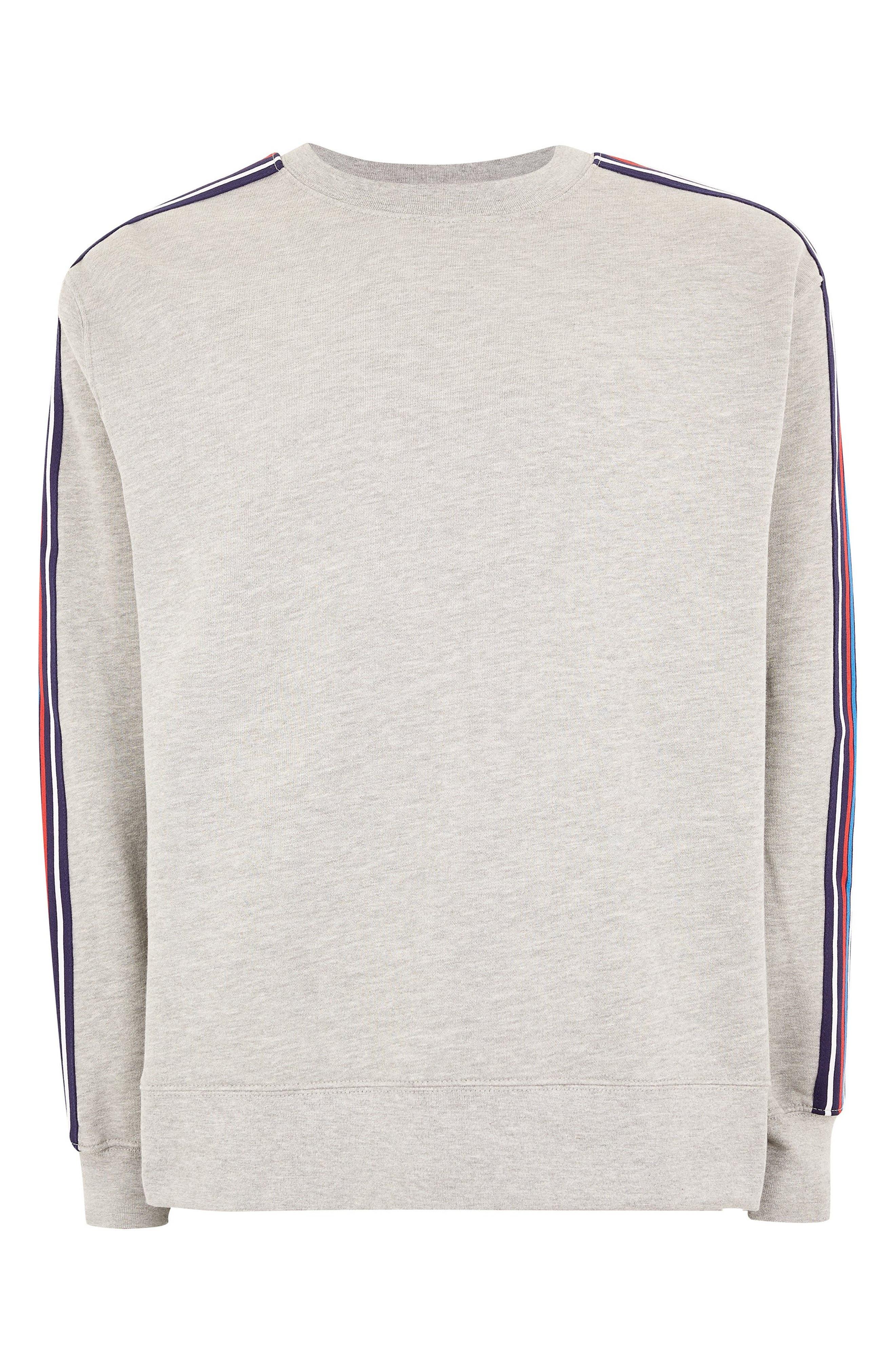 TOPMAN, Tape Crewneck Sweatshirt, Alternate thumbnail 4, color, LIGHT GREY