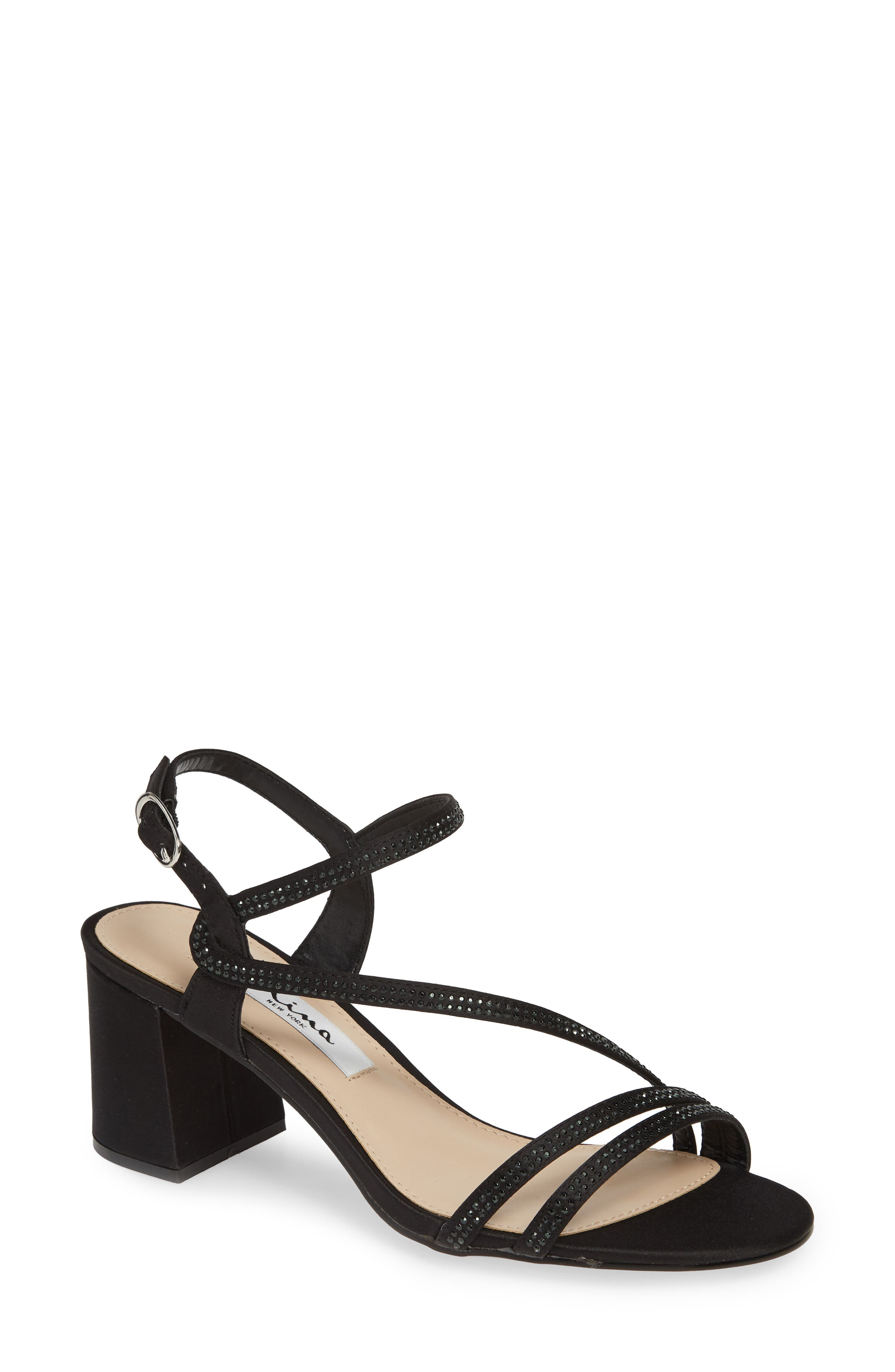 NINA Naura Block Heel Sandal, Main, color, BLACK SATIN