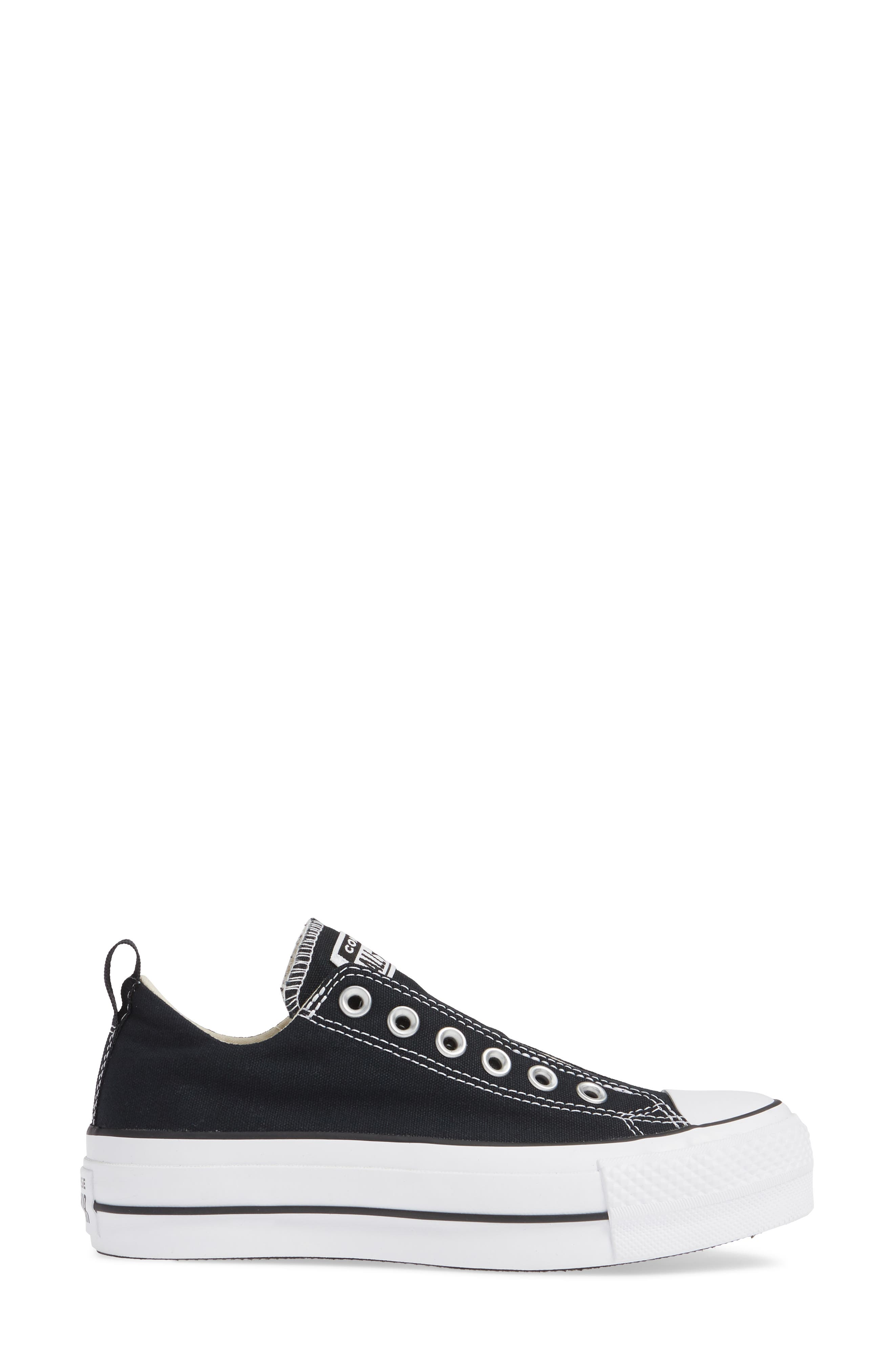 CONVERSE, Chuck Taylor<sup>®</sup> All Star<sup>®</sup> Low Top Sneaker, Alternate thumbnail 3, color, BLACK/ WHITE/ BLACK