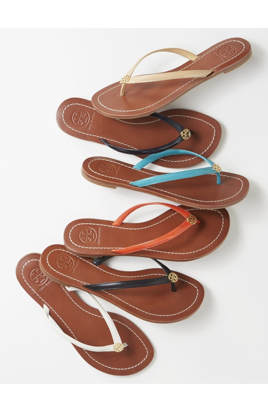 TORY BURCH, 'Terra' Flip Flop, Alternate thumbnail 5, color, 001