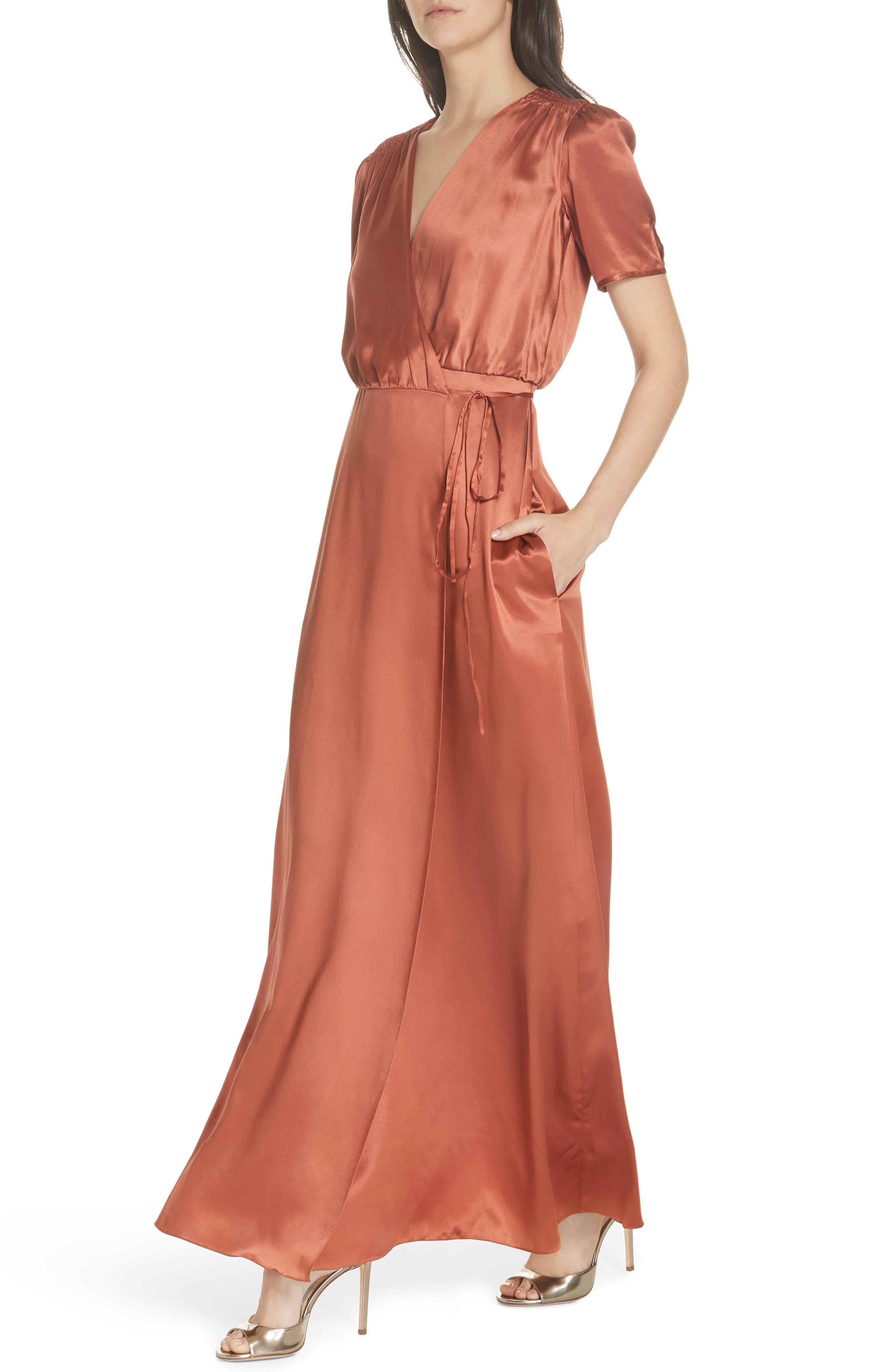 SALONI, Lea Silk Wrap Dress, Alternate thumbnail 4, color, DEEP RUSH