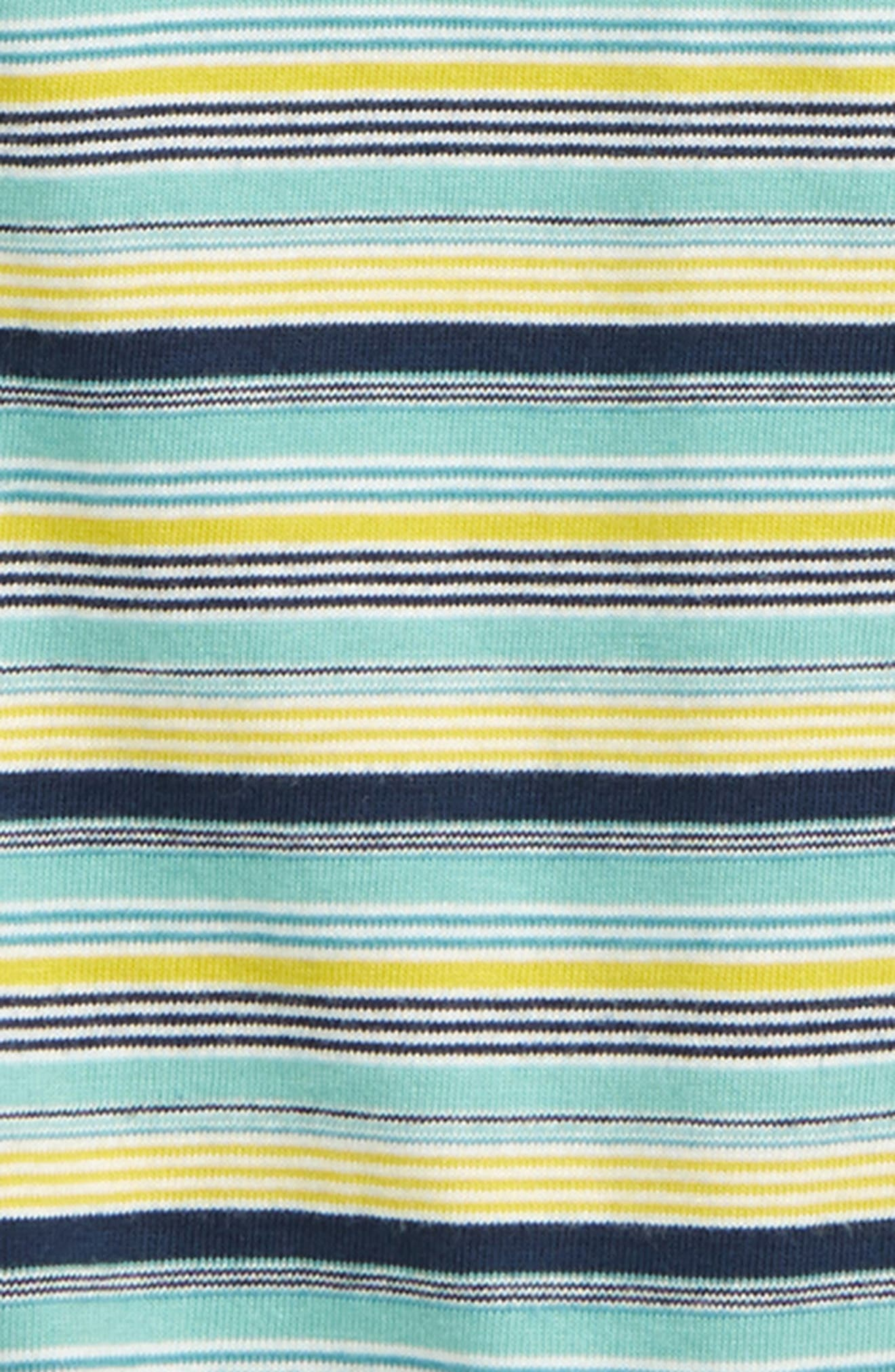 TEA COLLECTION, Stripe Polo Romper, Alternate thumbnail 2, color, ALBACORE