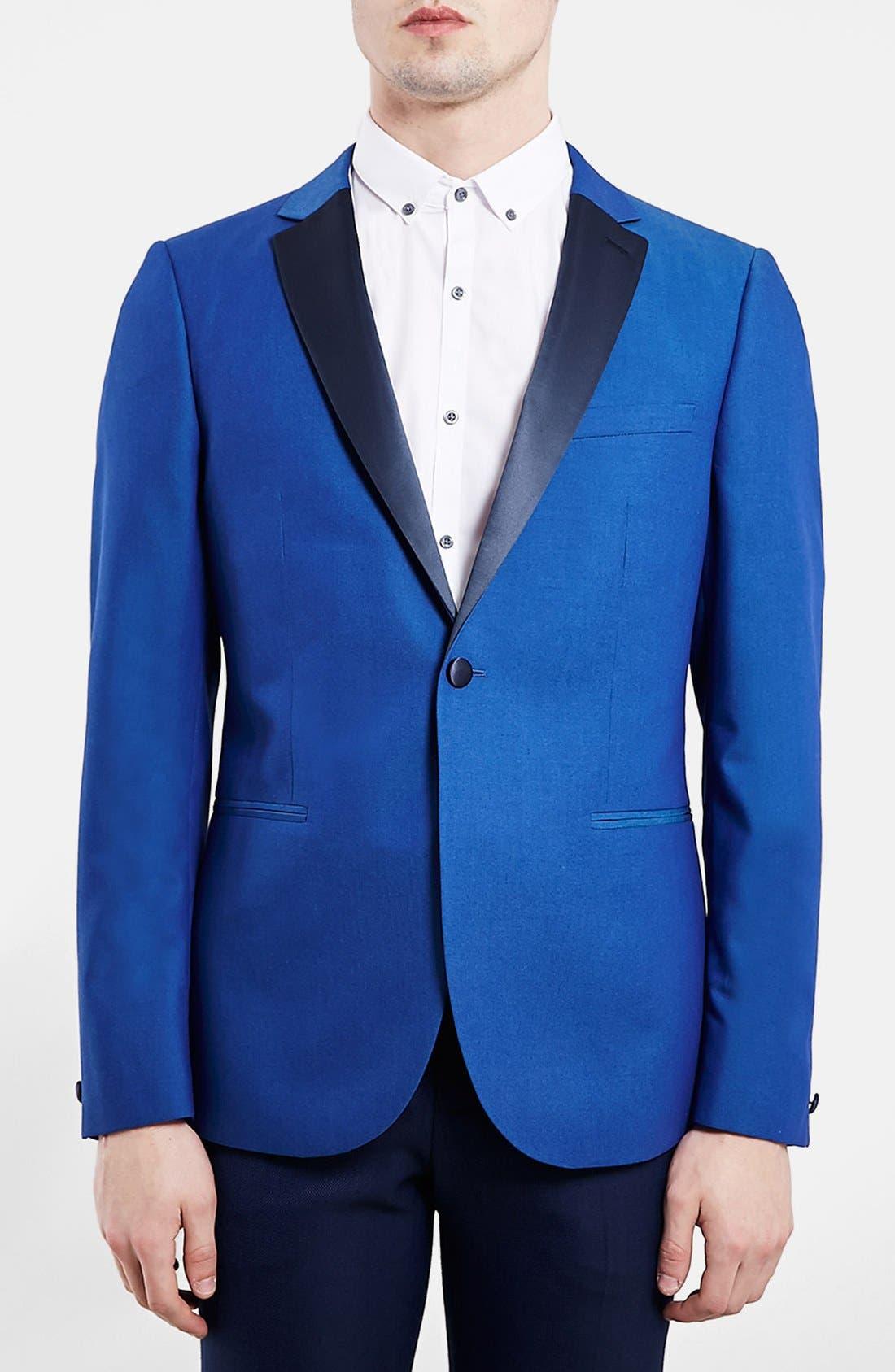 TOPMAN, Blue Skinny Fit Tuxedo Jacket, Main thumbnail 1, color, 400