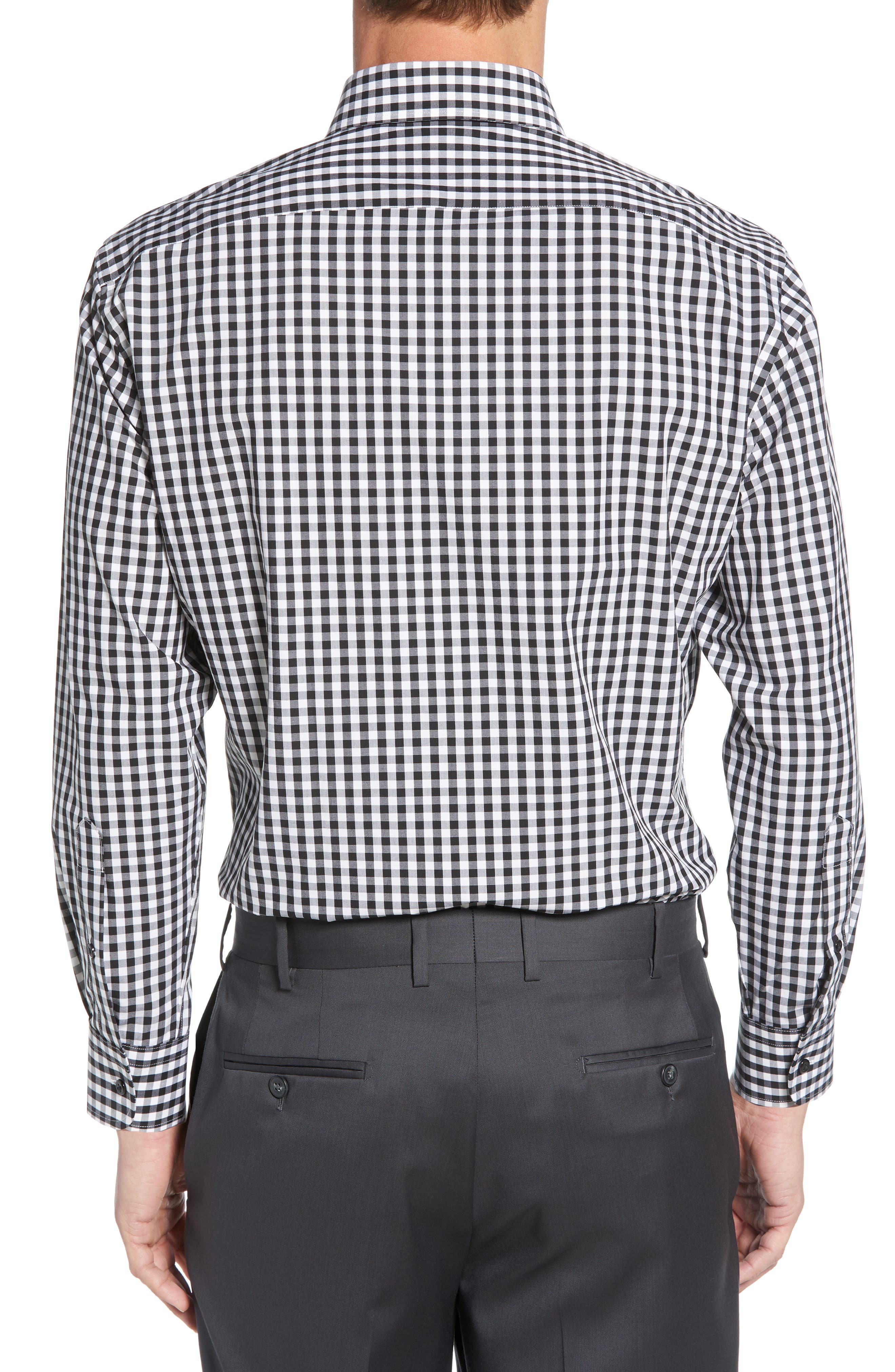 NORDSTROM MEN'S SHOP, Tech-Smart Traditional Fit Stretch Check Dress Shirt, Alternate thumbnail 3, color, BLACK ROCK