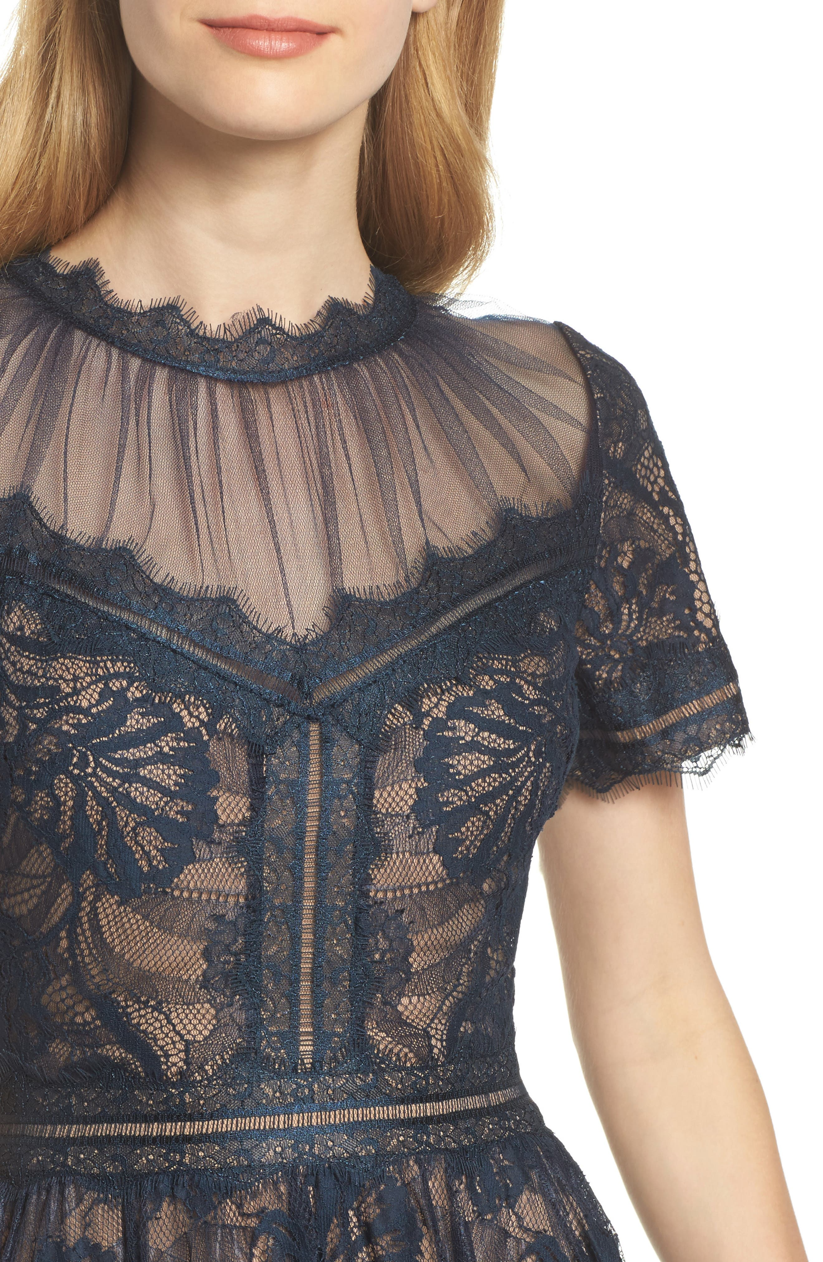 TADASHI SHOJI, Lace Midi Dress, Alternate thumbnail 5, color, NAVY/ NUDE