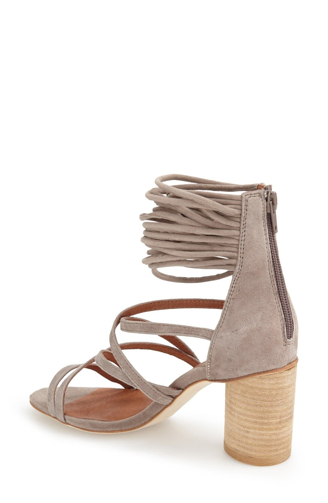 JEFFREY CAMPBELL, 'Despina' Strappy Sandal, Alternate thumbnail 2, color, TAUPE SUEDE