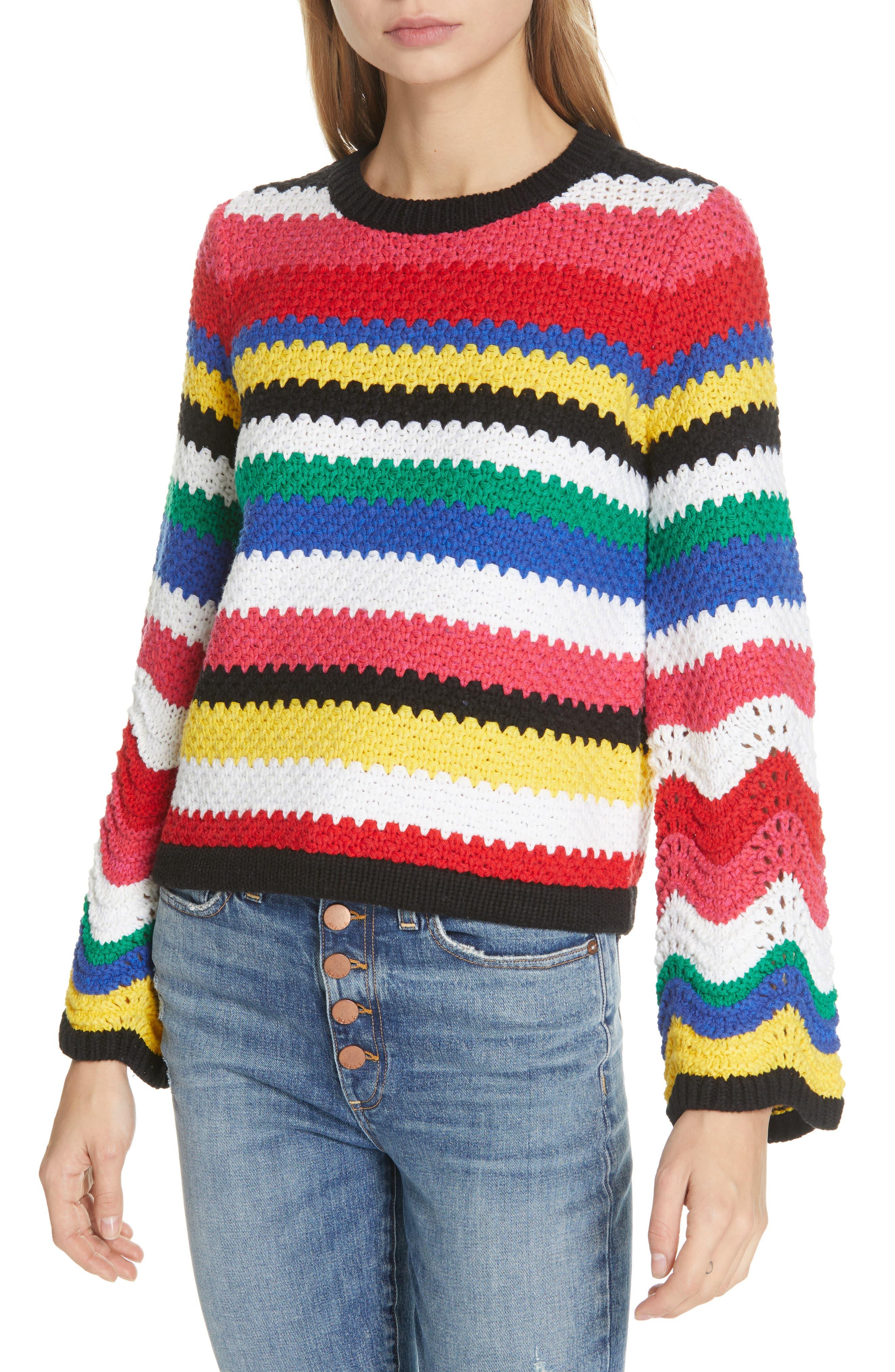 ALICE + OLIVIA, Alivia Stripe Bell Sleeve Cotton Blend Sweater, Main thumbnail 1, color, MULTI