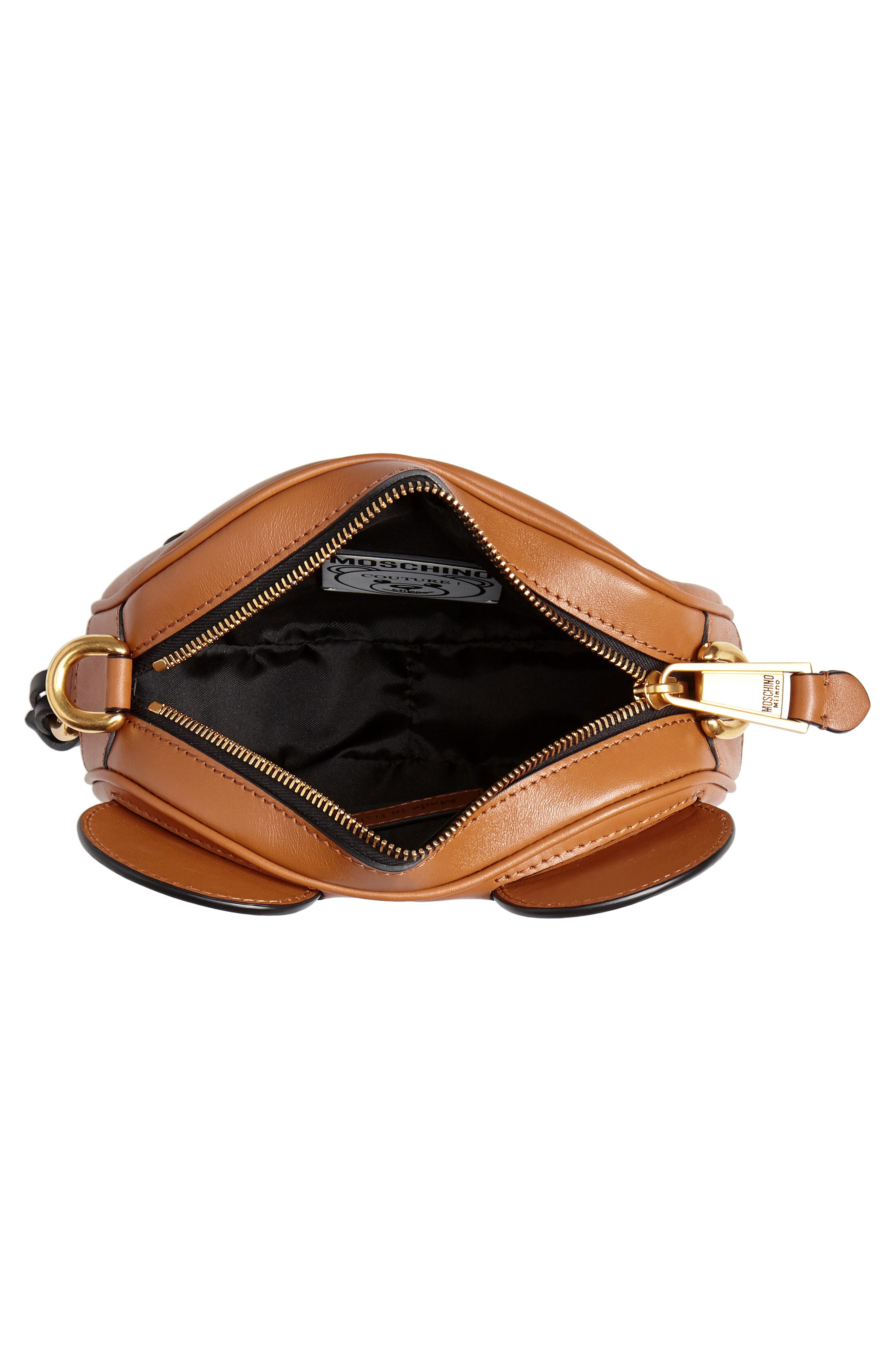 MOSCHINO, Crystal Teddy Leather Crossbody Bag, Alternate thumbnail 4, color, BROWN