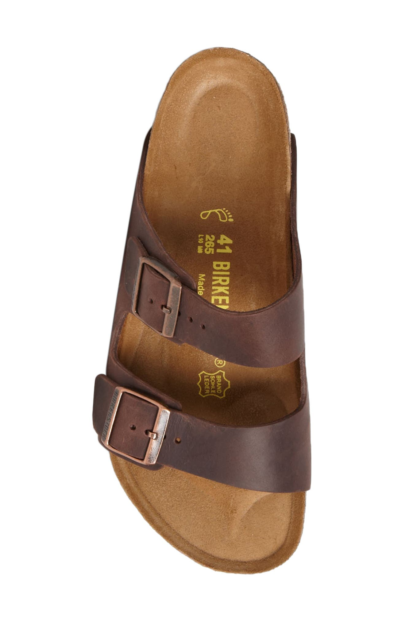 BIRKENSTOCK, Arizona Slide Sandal, Alternate thumbnail 3, color, HABANA OILED BROWN