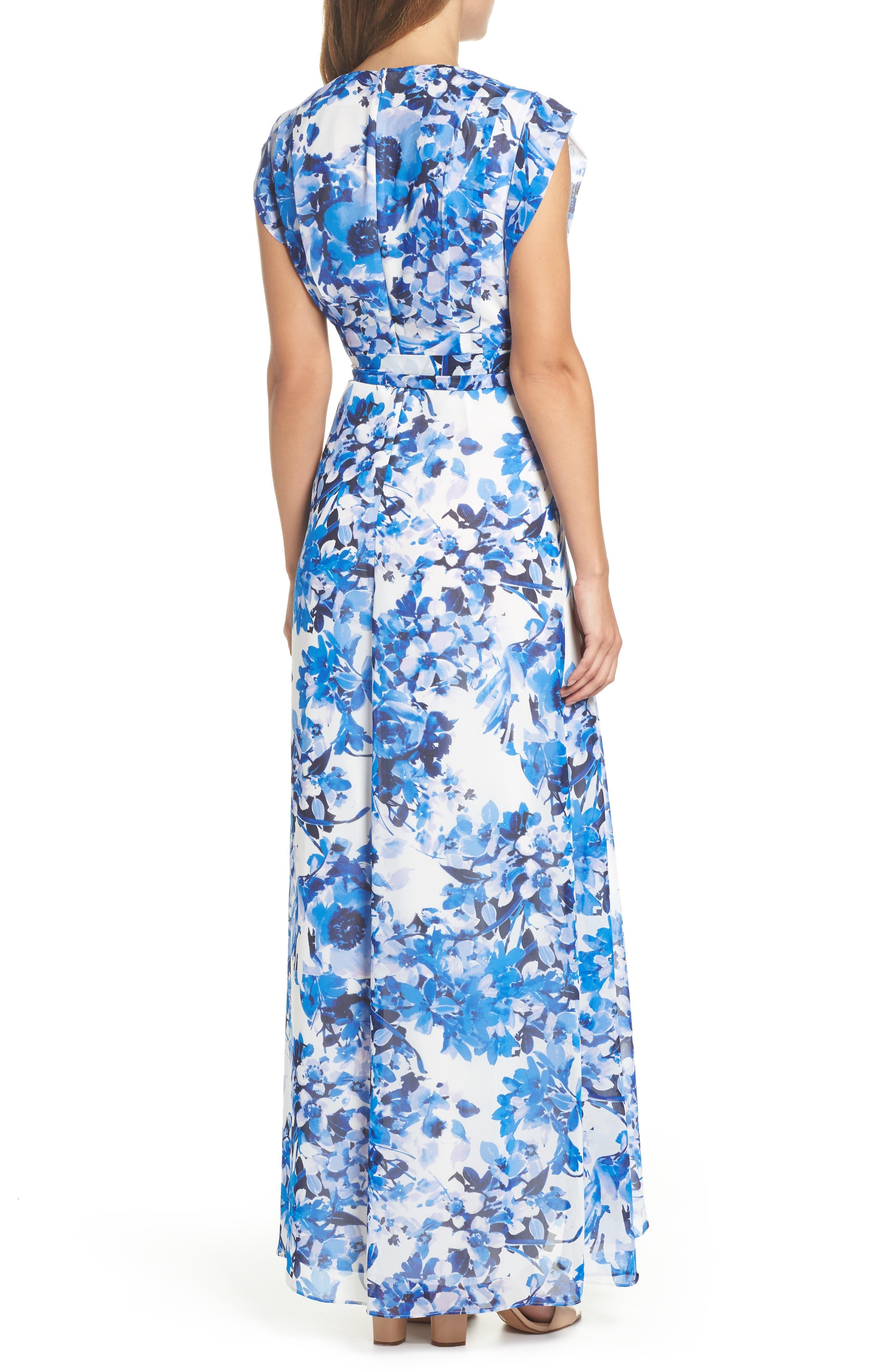 ELIZA J, Floral Ruffle High/Low Maxi Dress, Alternate thumbnail 2, color, BLUE