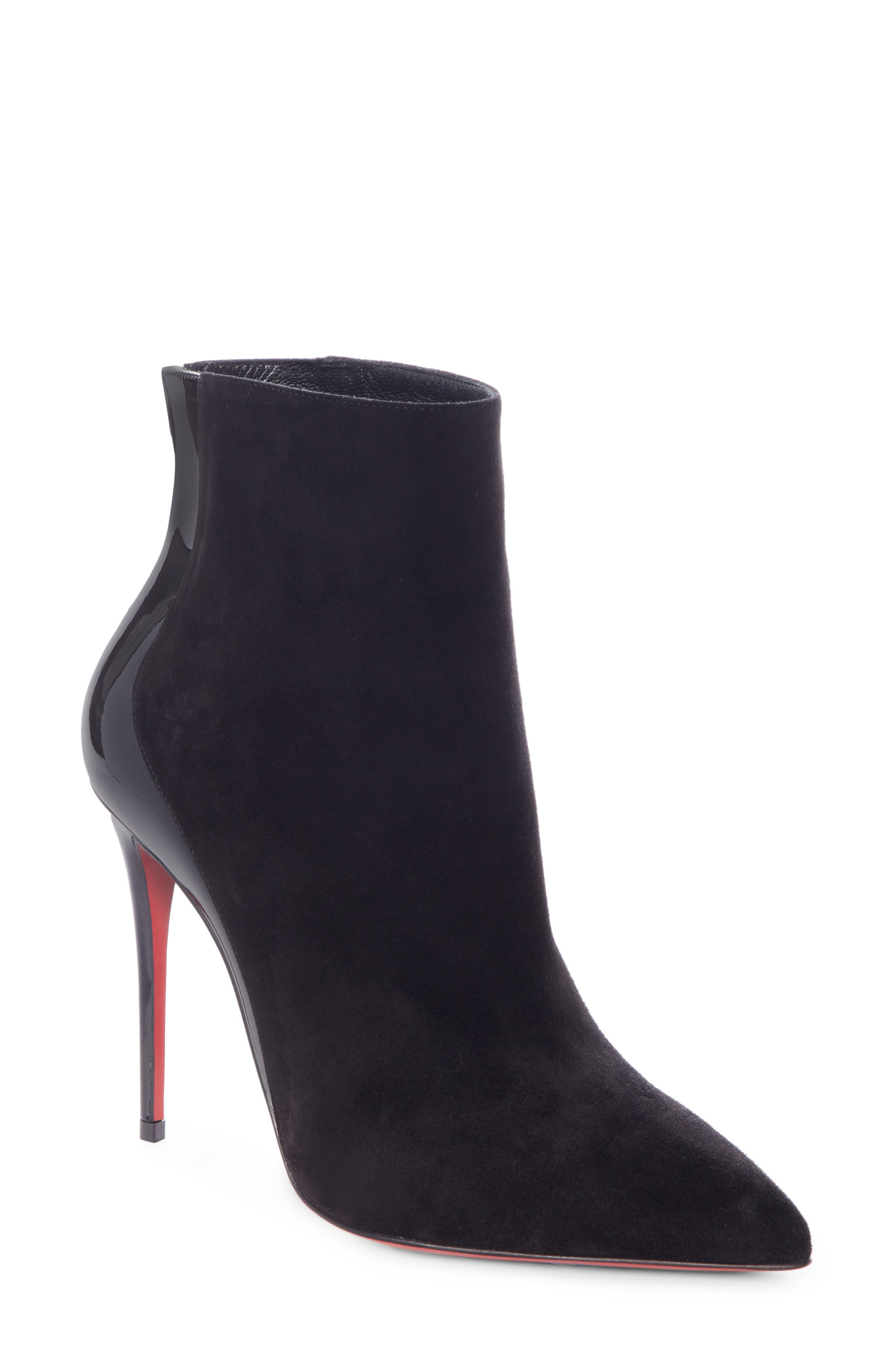 CHRISTIAN LOUBOUTIN, Delicotte Pointy Toe Bootie, Main thumbnail 1, color, BLACK/ BLACK