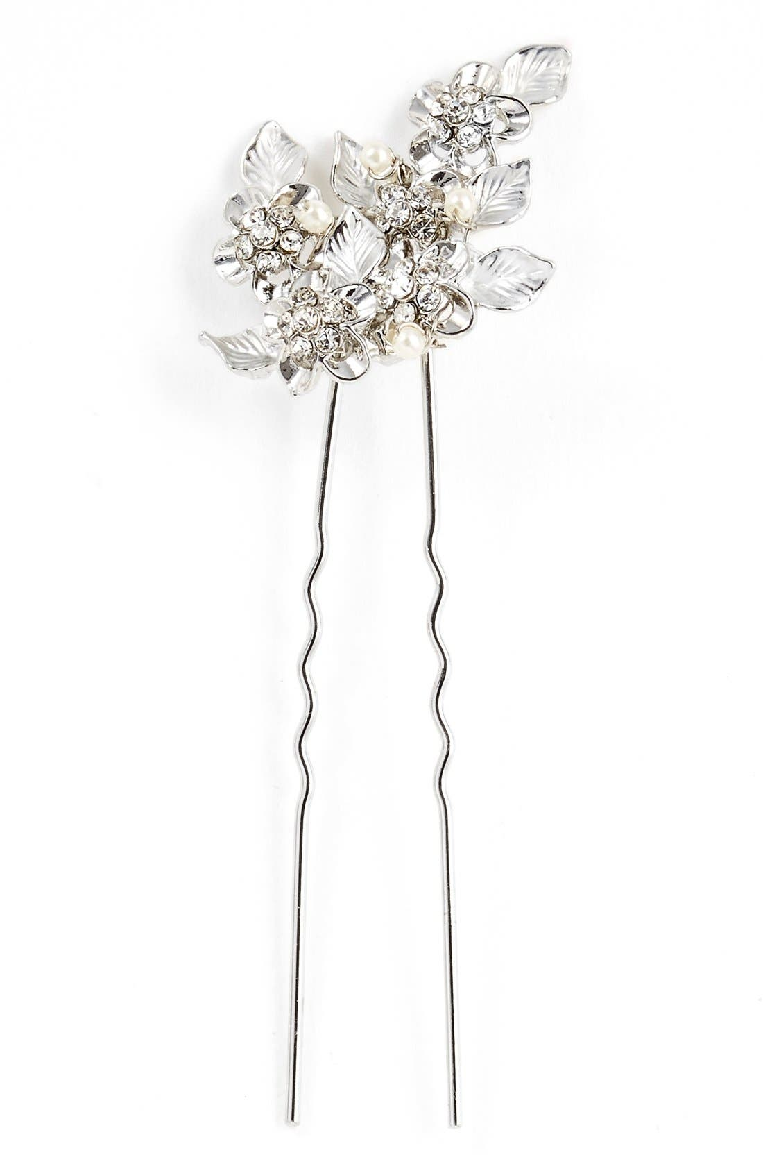 WEDDING BELLES NEW YORK, 'Eloise' Crystal Hairpin, Main thumbnail 1, color, SILVER/ IVORY