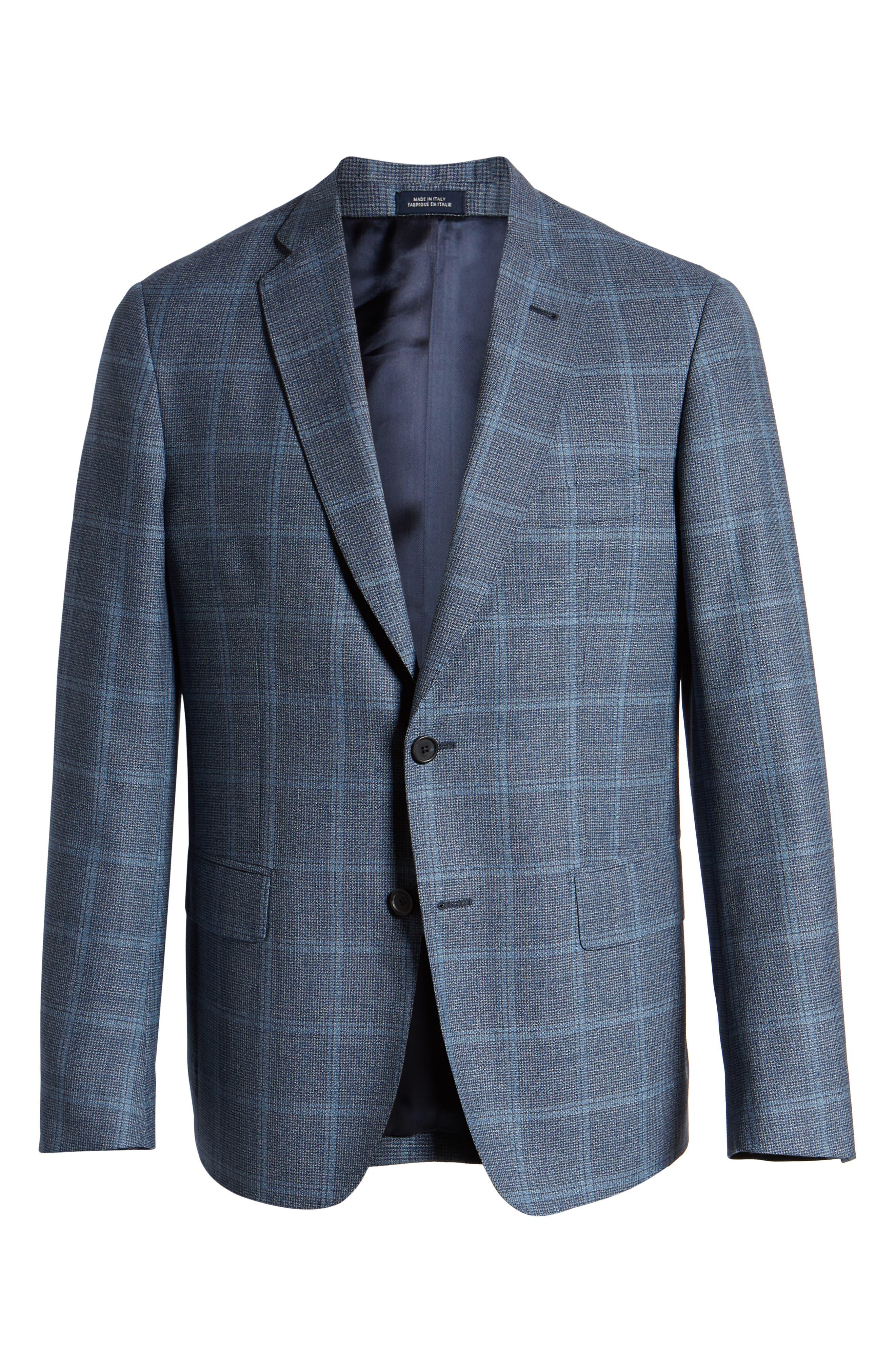 JOHN W. NORDSTROM<SUP>®</SUP>, Traditional Fit Windowpane Wool Sport Coat, Alternate thumbnail 6, color, BLUE DARK NAVY WINDOWPANE