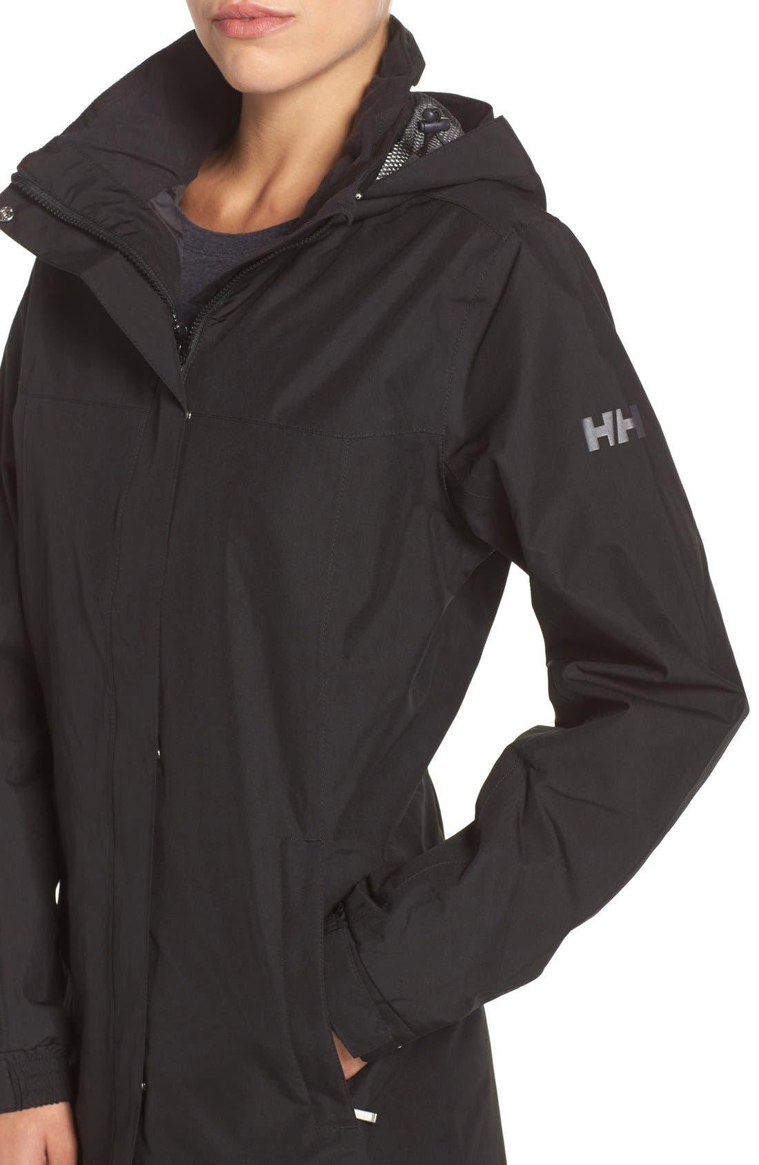 HELLY HANSEN, 'Aden' Helly Tech<sup>®</sup> Raincoat, Alternate thumbnail 4, color, BLACK