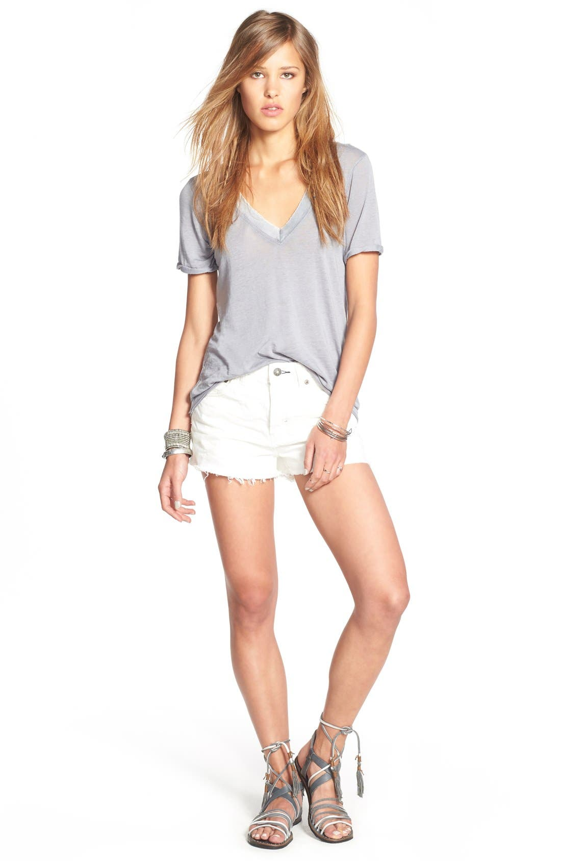 FREE PEOPLE, 'Pearls' Raw Edge V-Neck Tee, Alternate thumbnail 2, color, 030