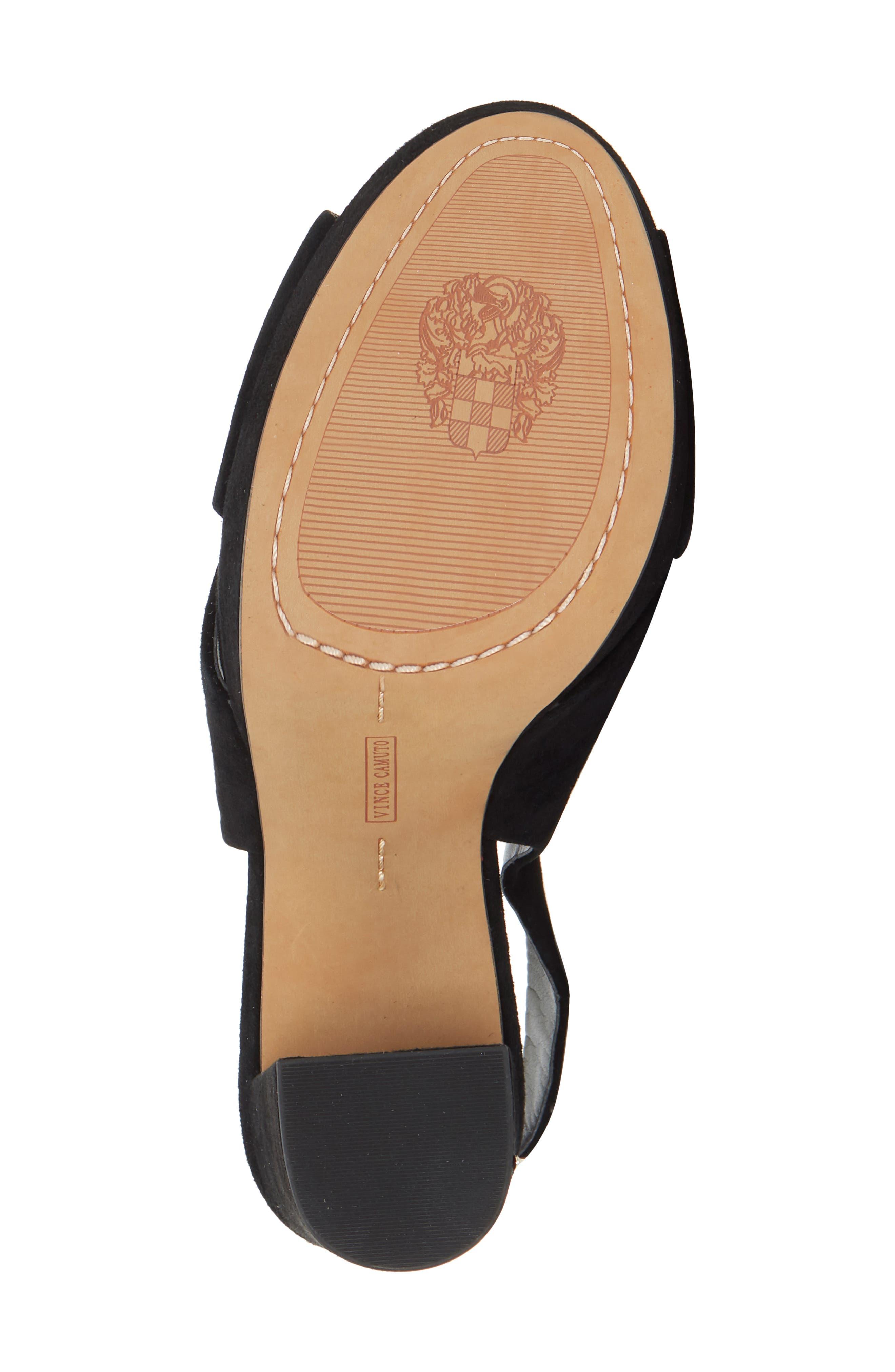 VINCE CAMUTO, Slingback Platform Sandal, Alternate thumbnail 6, color, BLACK 01 SUEDE