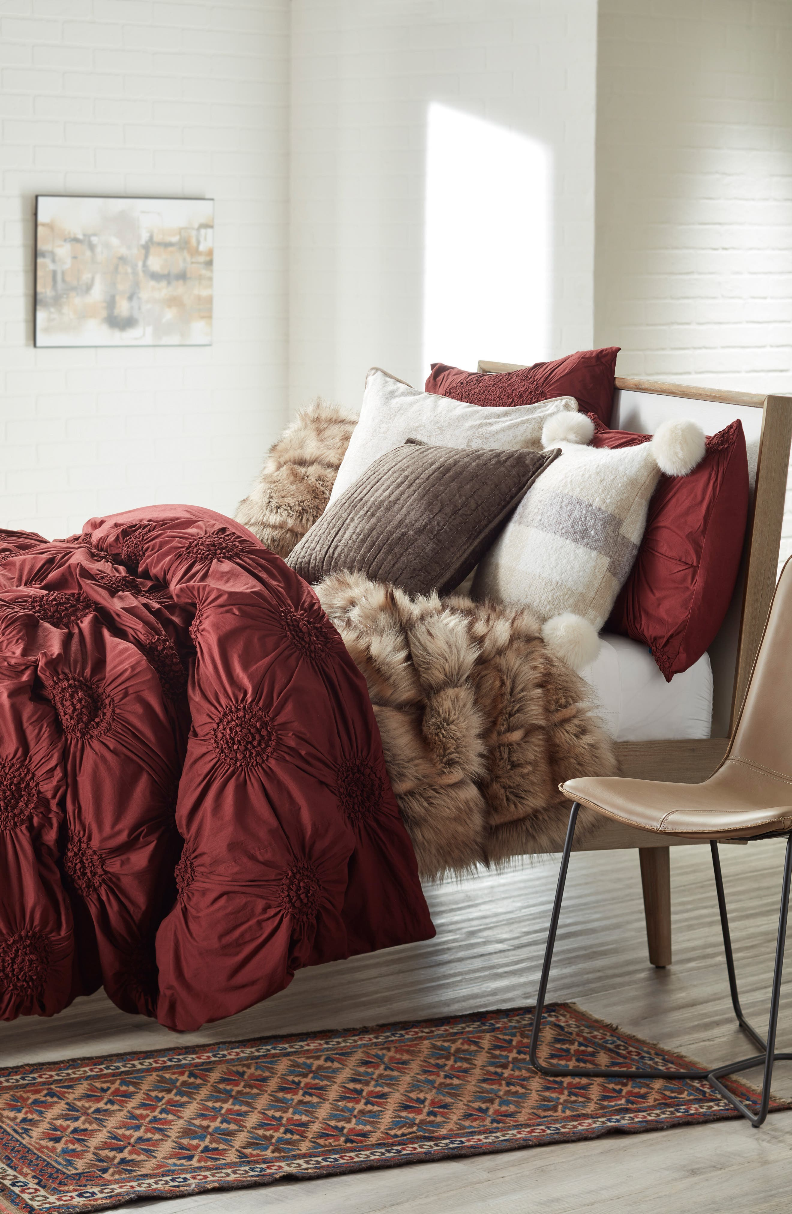 NORDSTROM AT HOME, Luxe Faux Fur Stripe Throw Blanket, Alternate thumbnail 4, color, NATURAL MULTI