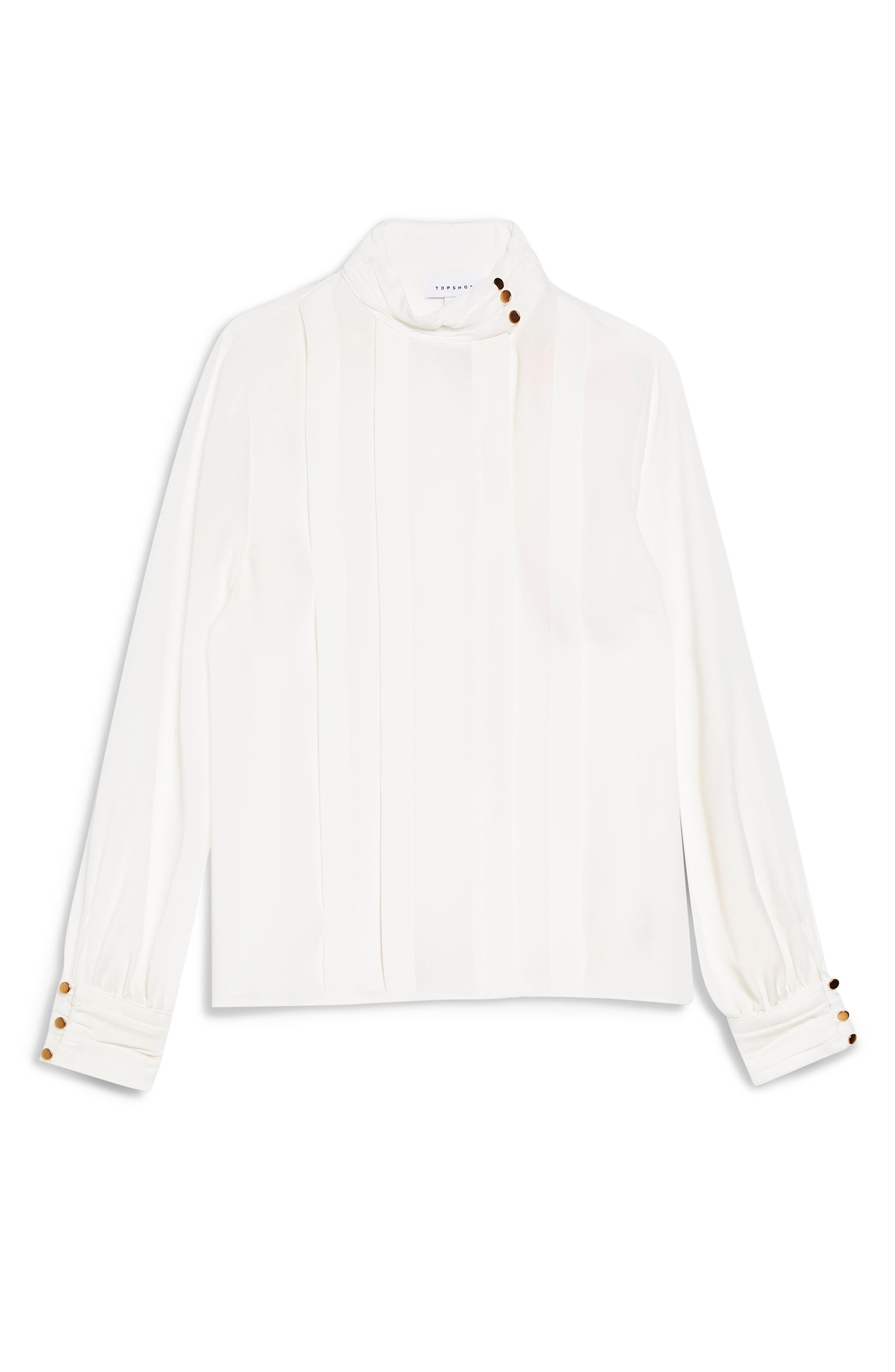 TOPSHOP, Pleat Button Neck Shirt, Alternate thumbnail 4, color, 900