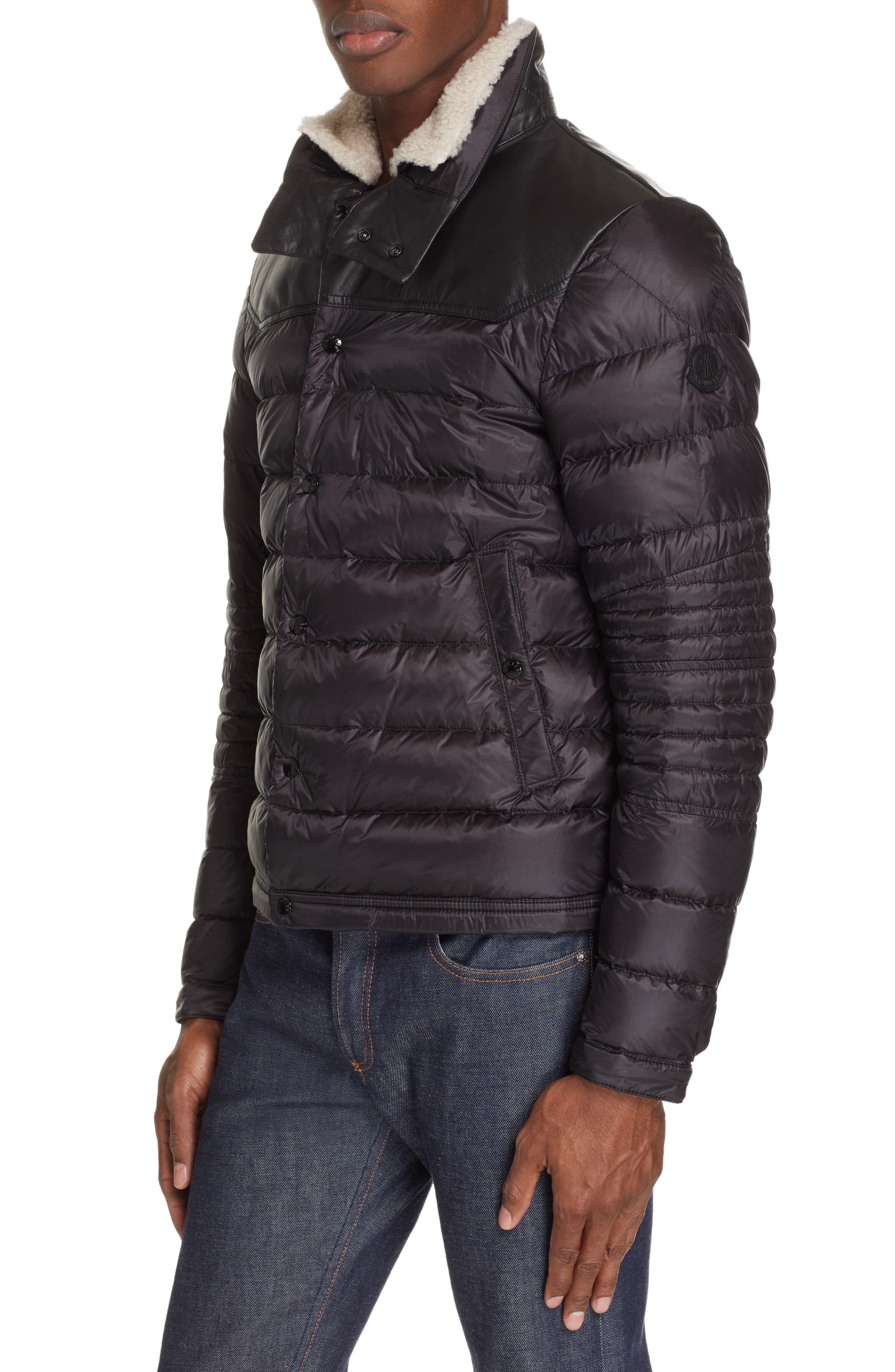 MONCLER, Vasserot Genuine Shearling Collar Jacket, Main thumbnail 1, color, BLACK