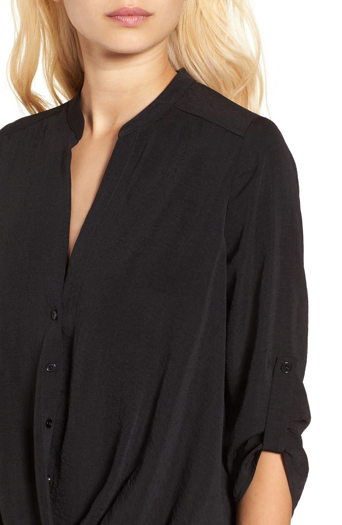 ---, Twist Front Woven Shirt, Alternate thumbnail 5, color, 001