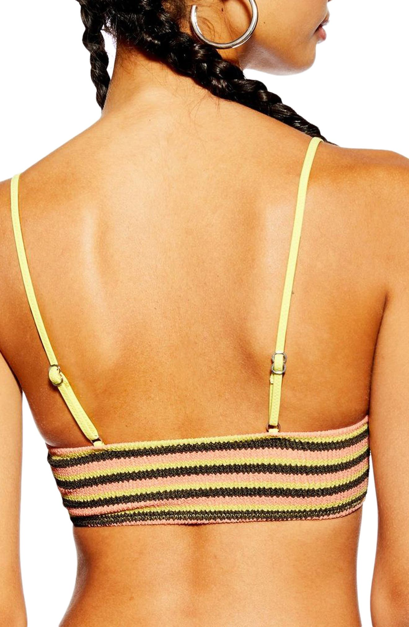 TOPSHOP, Textured Stripe Bikini Top, Alternate thumbnail 2, color, YELLOW MULTI