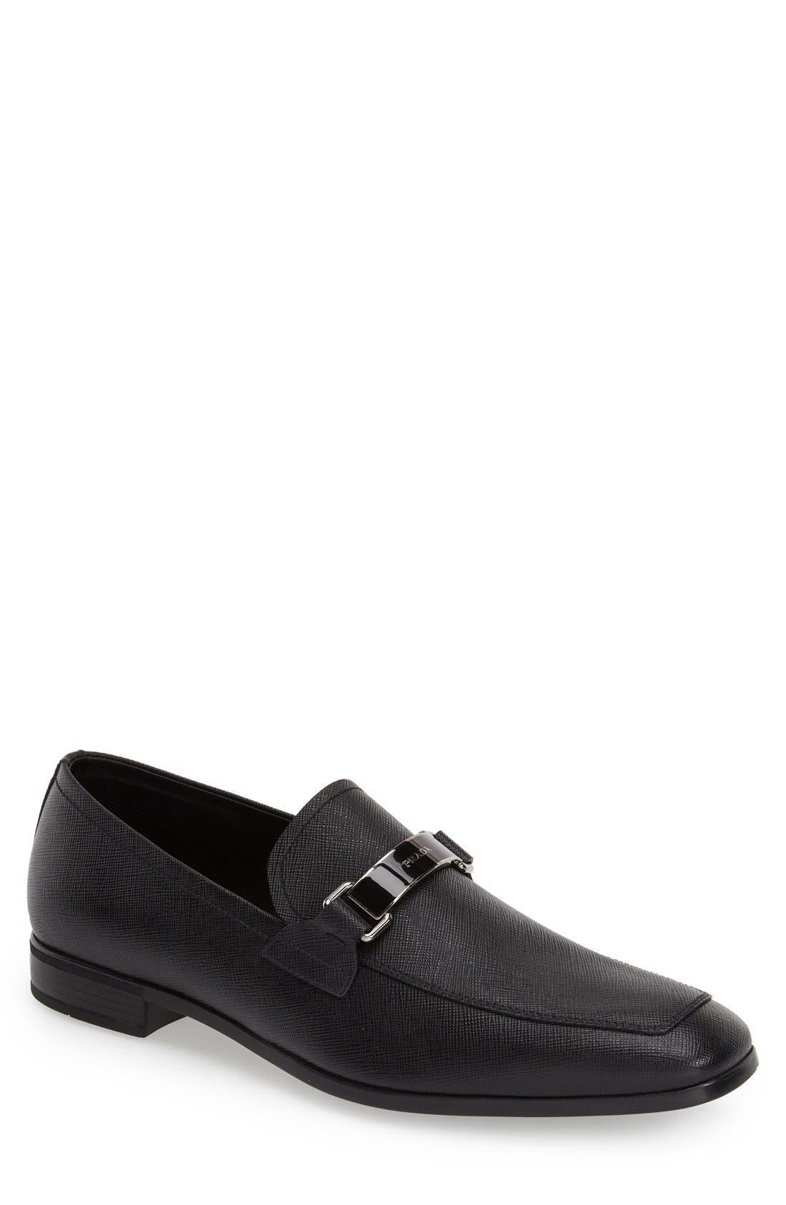 PRADA Saffiano Leather Bit Loafer, Main, color, NERO LEATHER