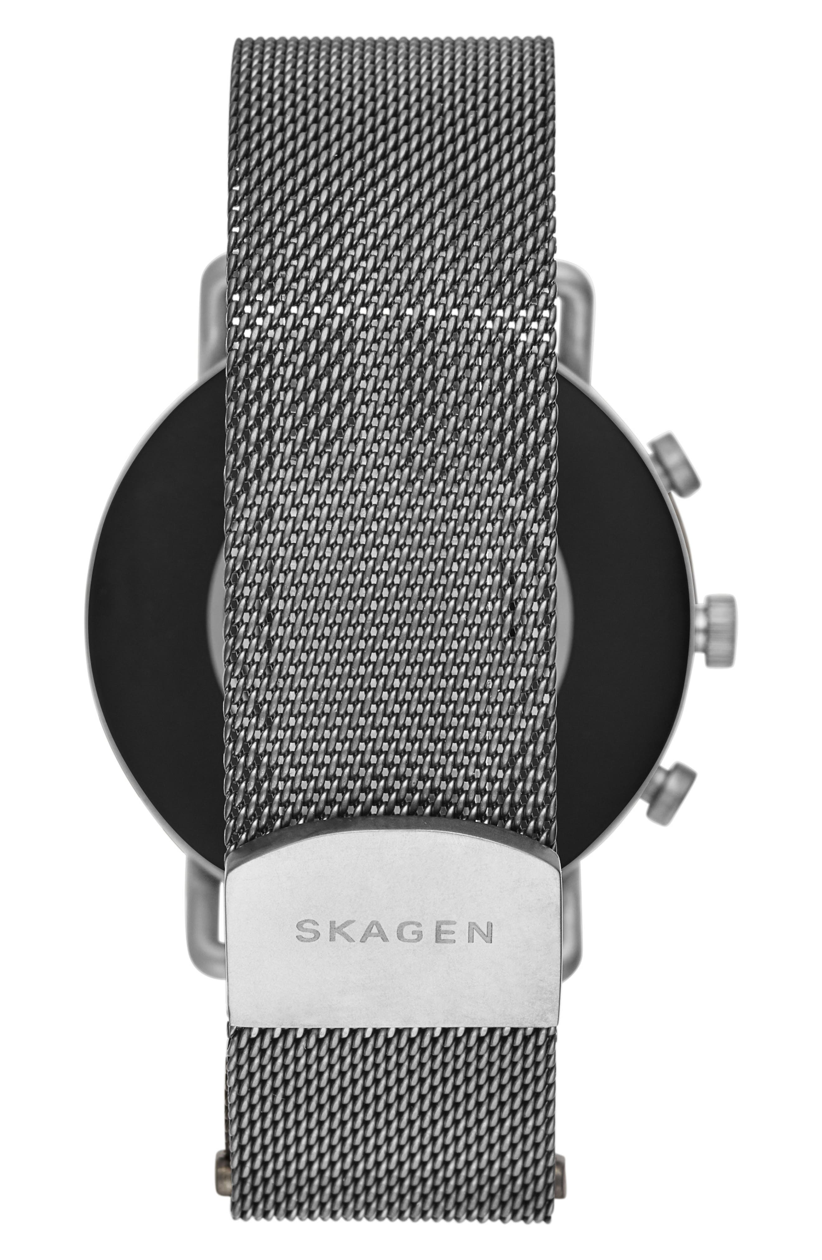 SKAGEN, Falster 2 Touchscreen Mesh Strap Smart Watch, 40mm, Alternate thumbnail 2, color, GUNMETAL