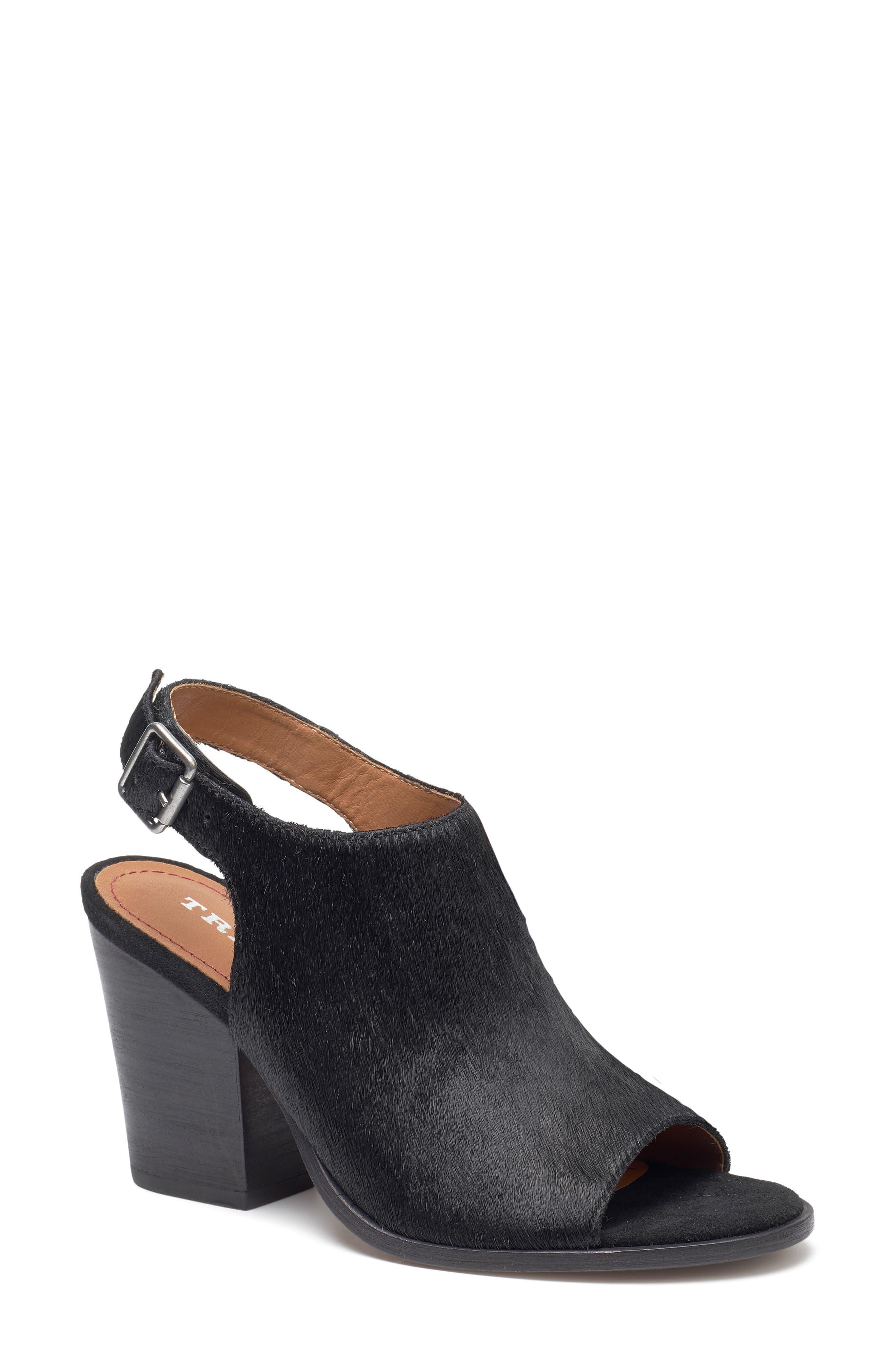TRASK Parker Sandal, Main, color, BLACK CALF HAIR